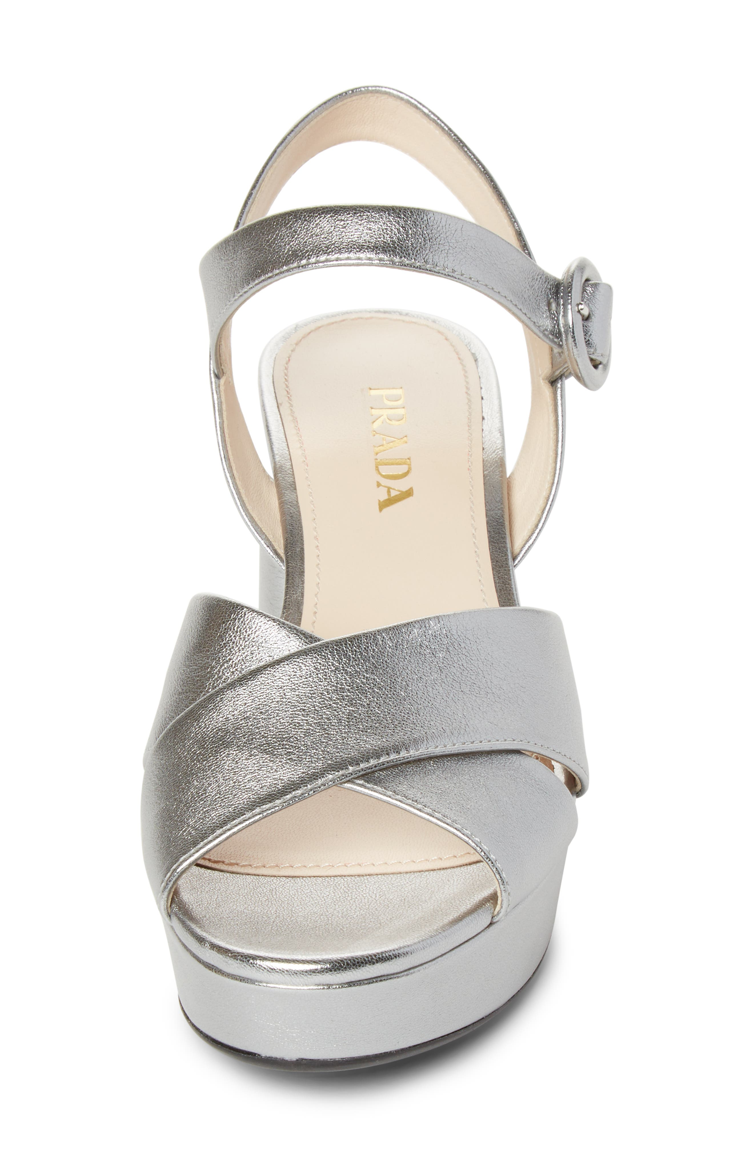 PRADA, Quarter Strap Platform Sandal, Alternate thumbnail 4, color, SILVER