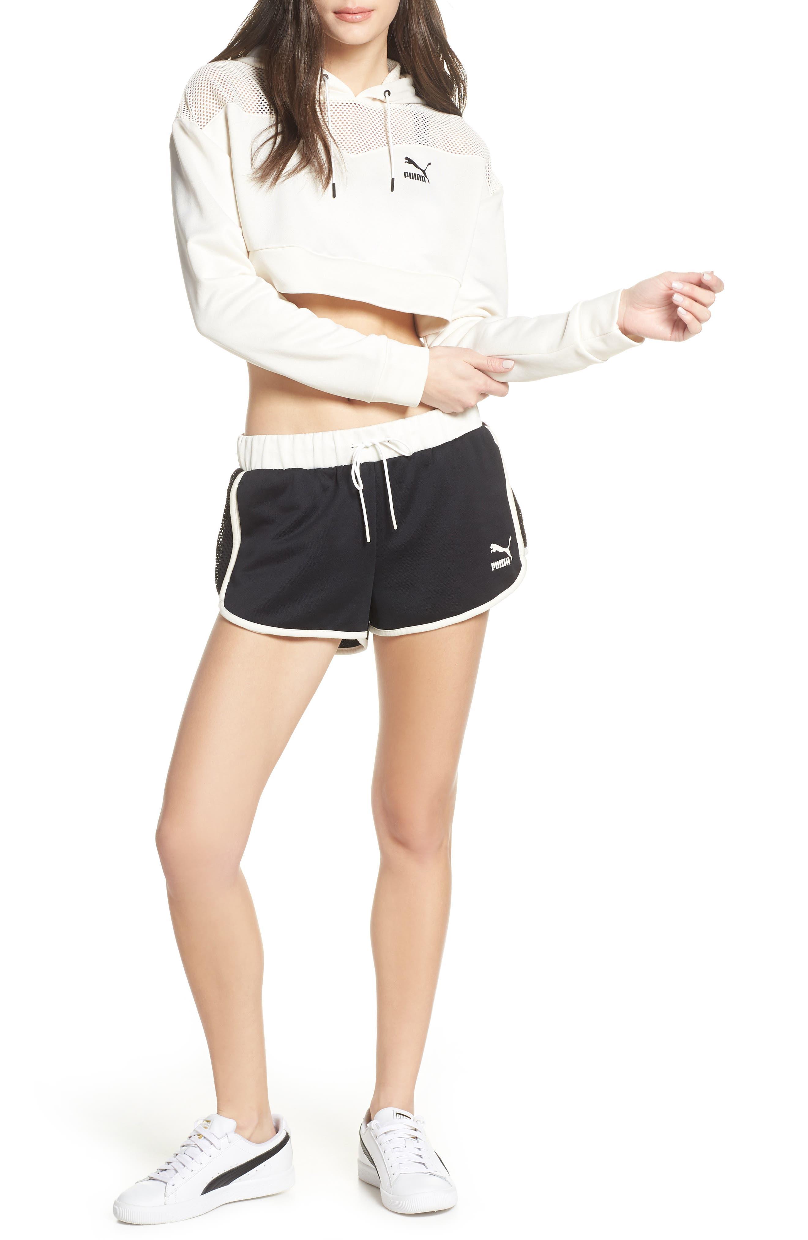 PUMA, Flourish Crop Hooded Sweatshirt, Alternate thumbnail 8, color, WHISPER WHITE-PUMA BLACK