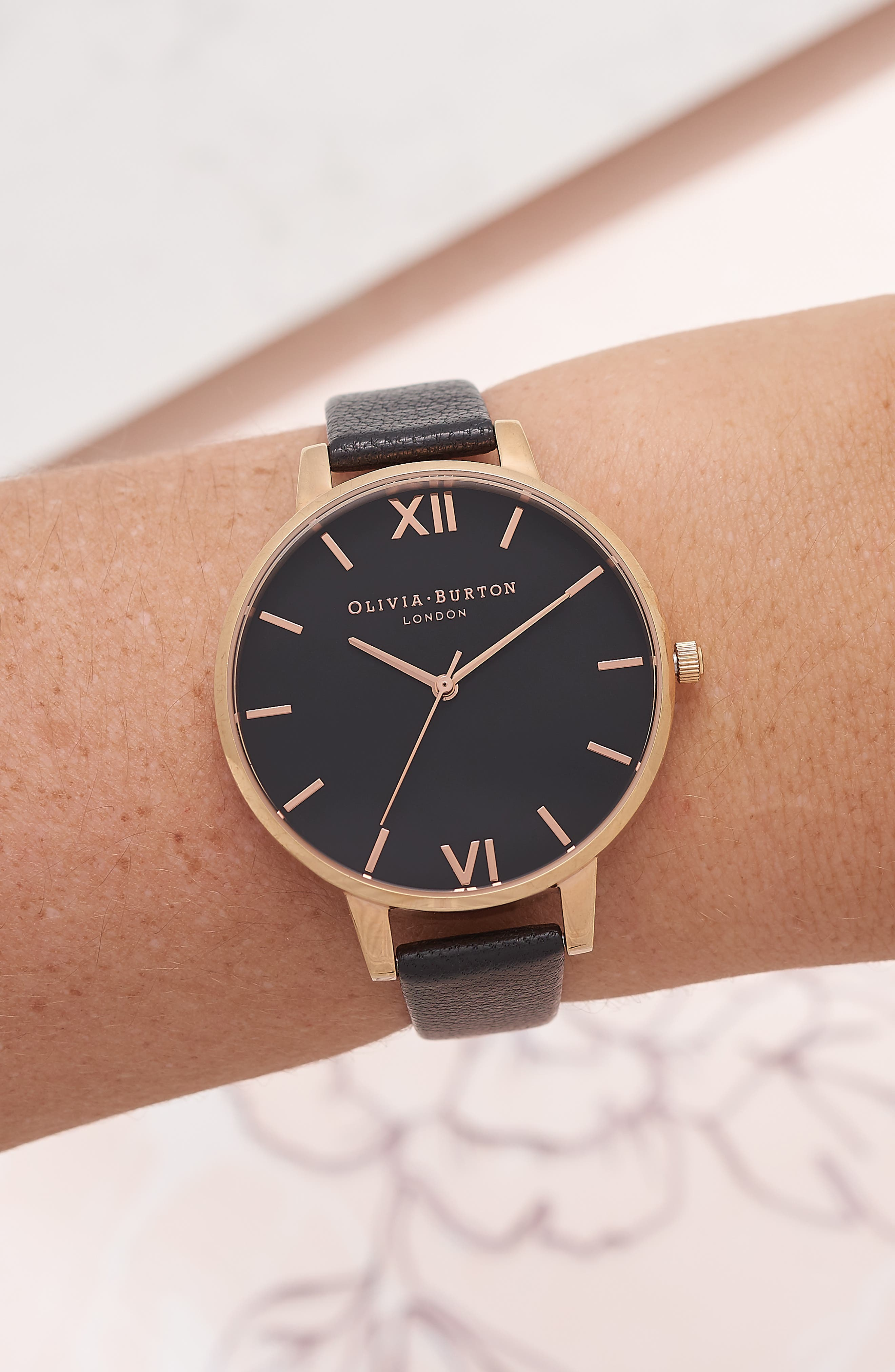 OLIVIA BURTON, Big Dial Leather Strap Watch, 38mm, Alternate thumbnail 2, color, BLACK/ BLACK/ ROSE GOLD