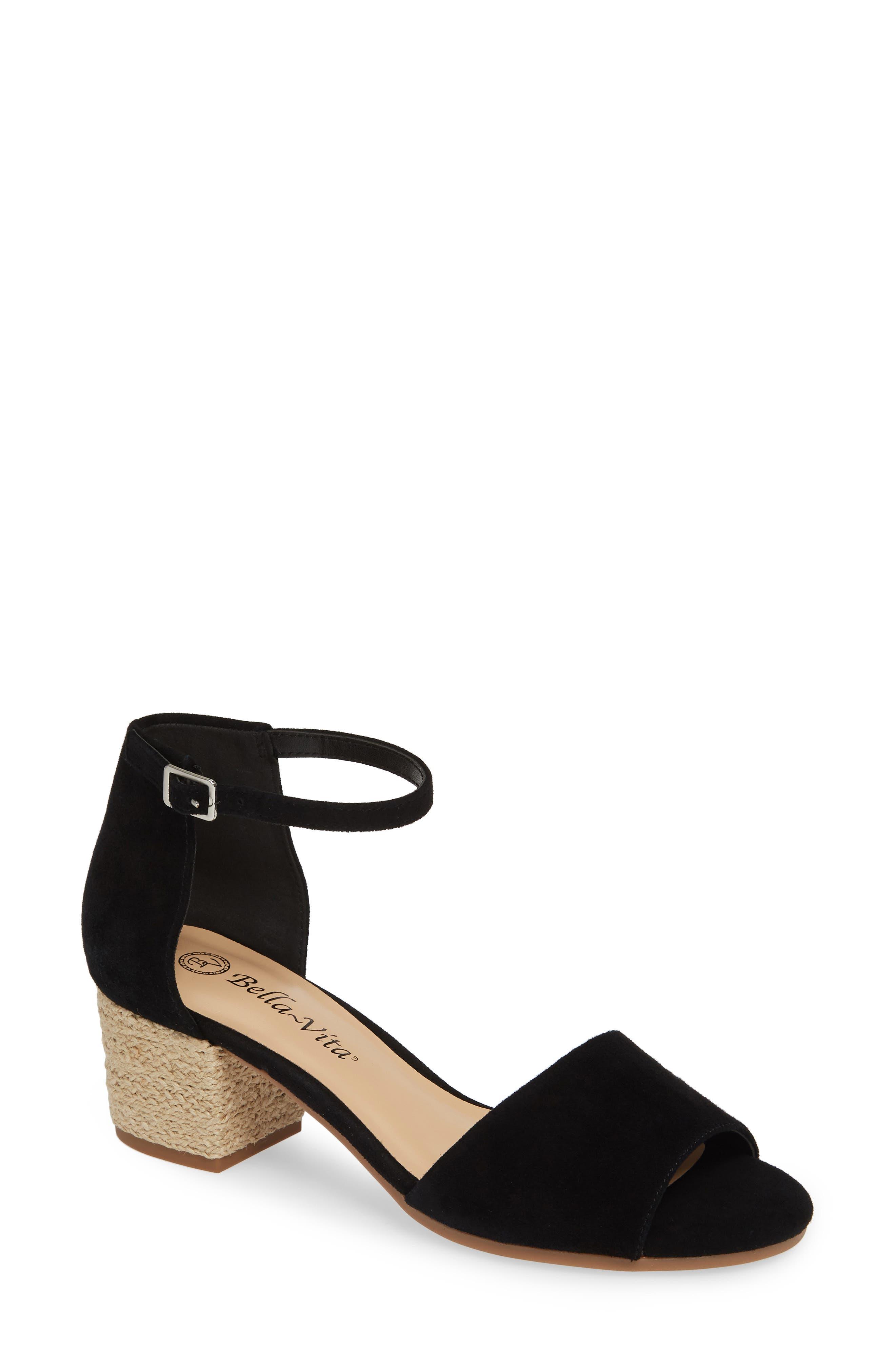 BELLA VITA Fable Sandal, Main, color, BLACK SUEDE