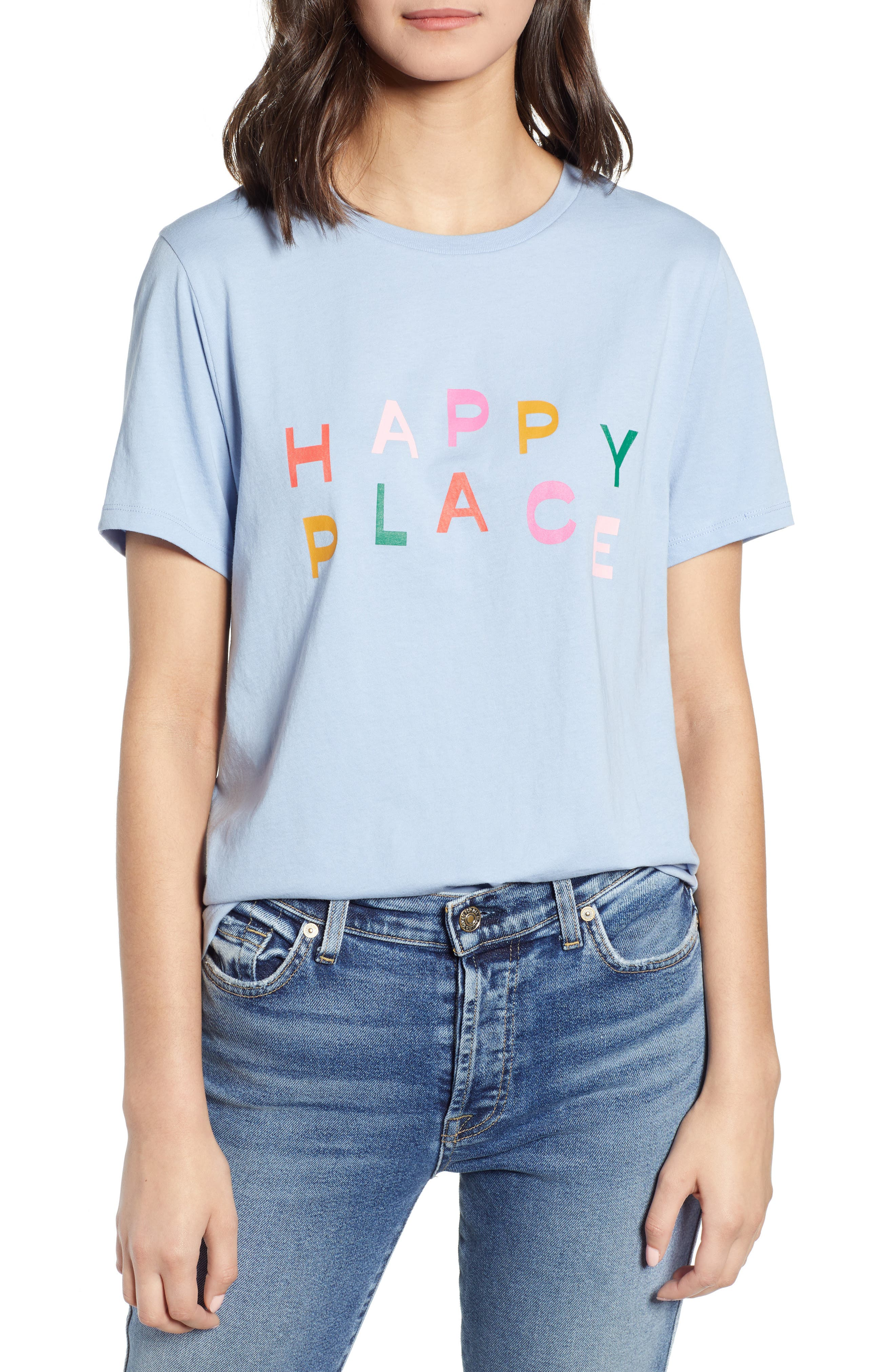 BAN.DO Happy Place Classic Tee, Main, color, LIGHT BLUE