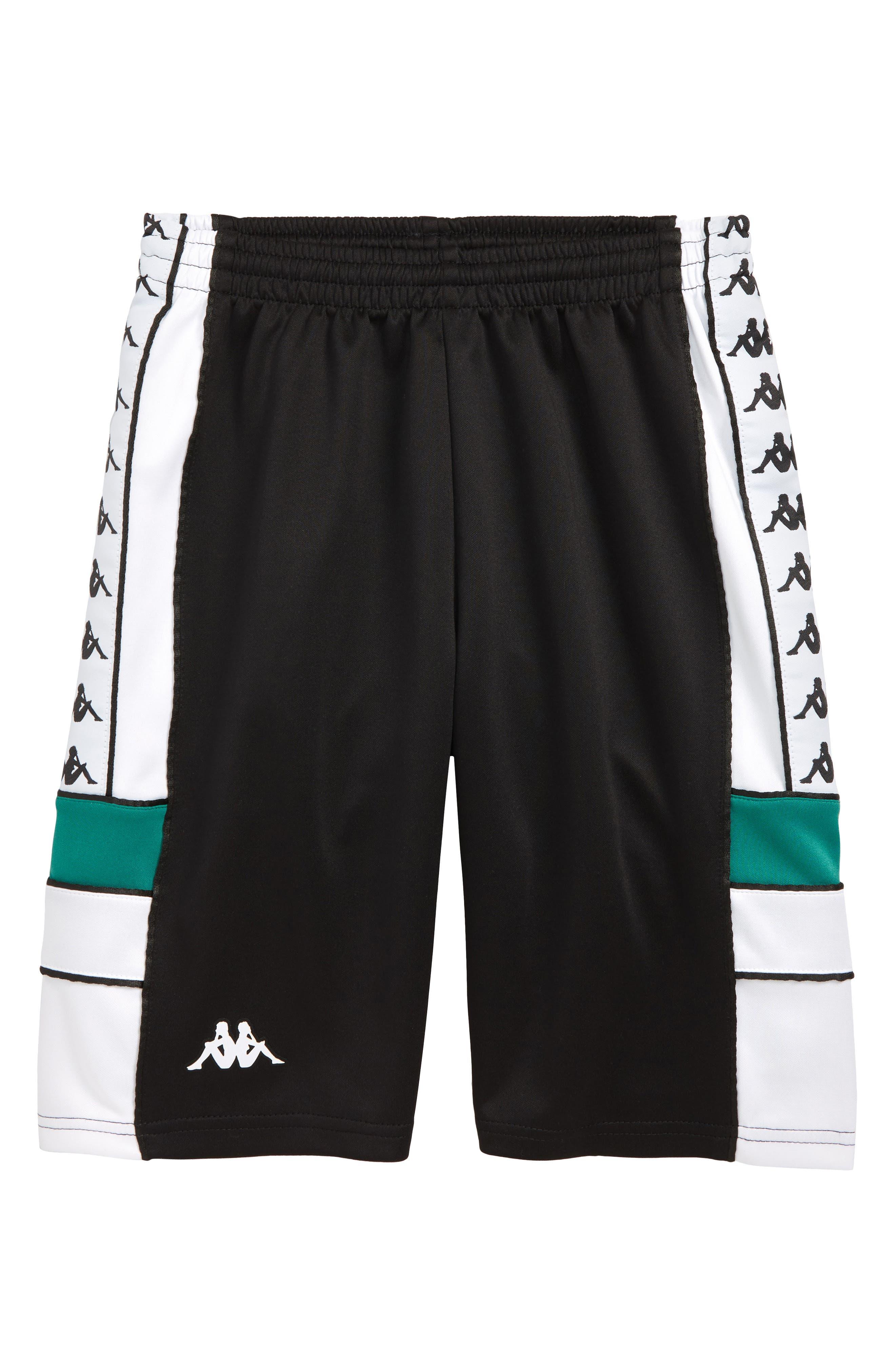 KAPPA, 222 Banda Shorts, Main thumbnail 1, color, BLACK/ WHITE/ GREEN