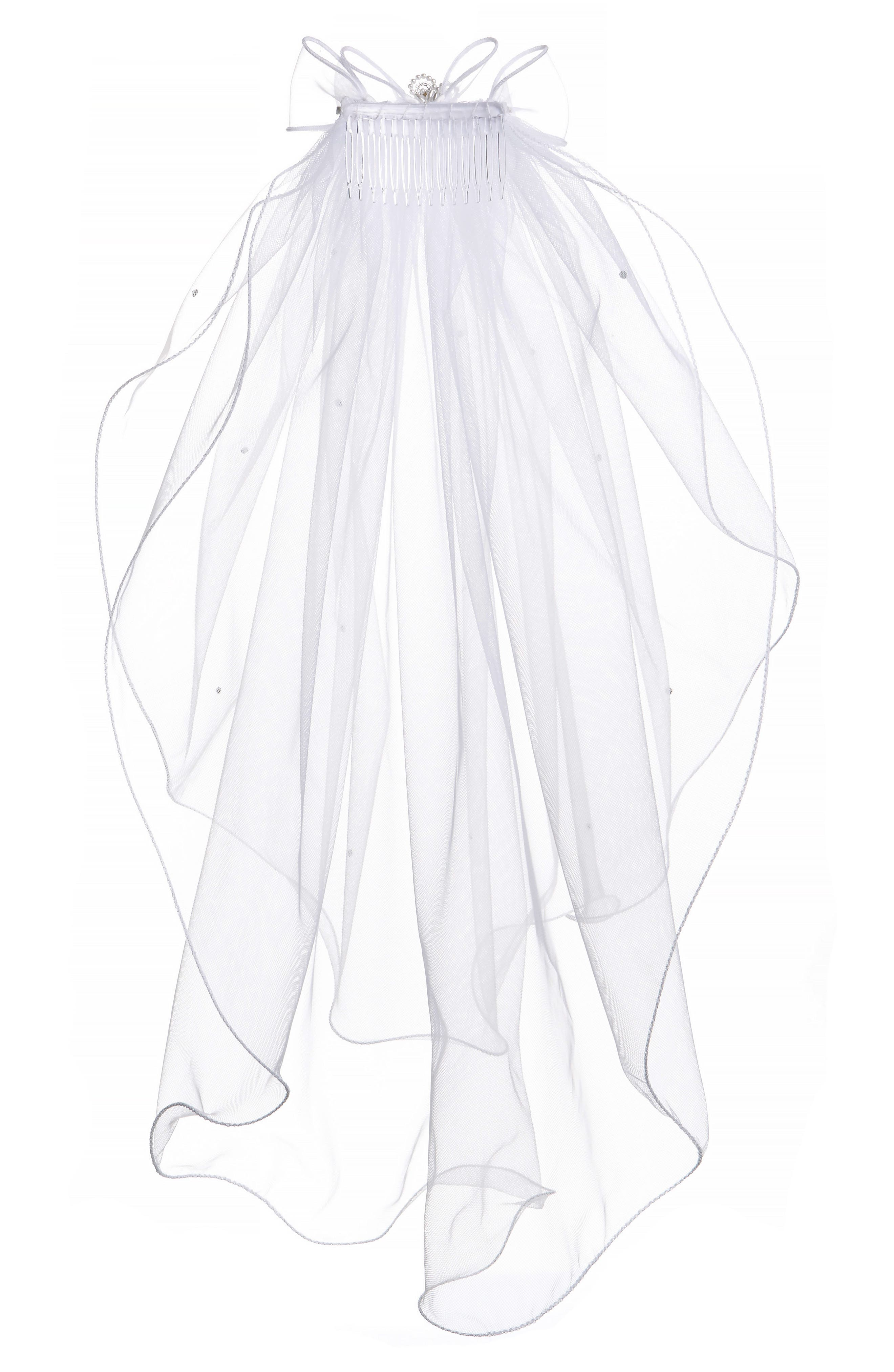 LAUREN MARIE, Beaded Bow & Veil, Alternate thumbnail 3, color, WHITE