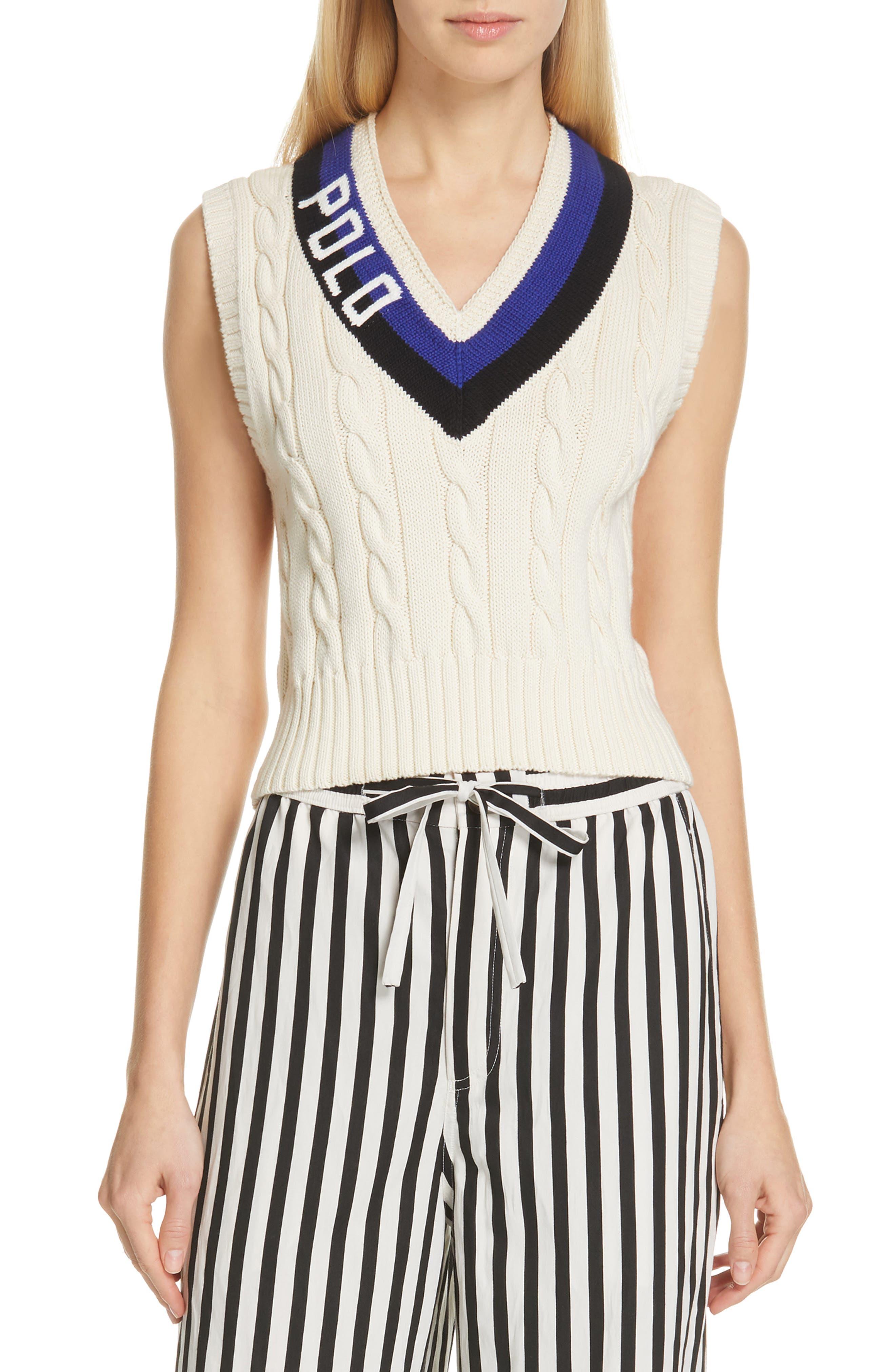 POLO RALPH LAUREN, Cable Sweater Vest, Main thumbnail 1, color, CREAM/ BLACK/ ROYAL