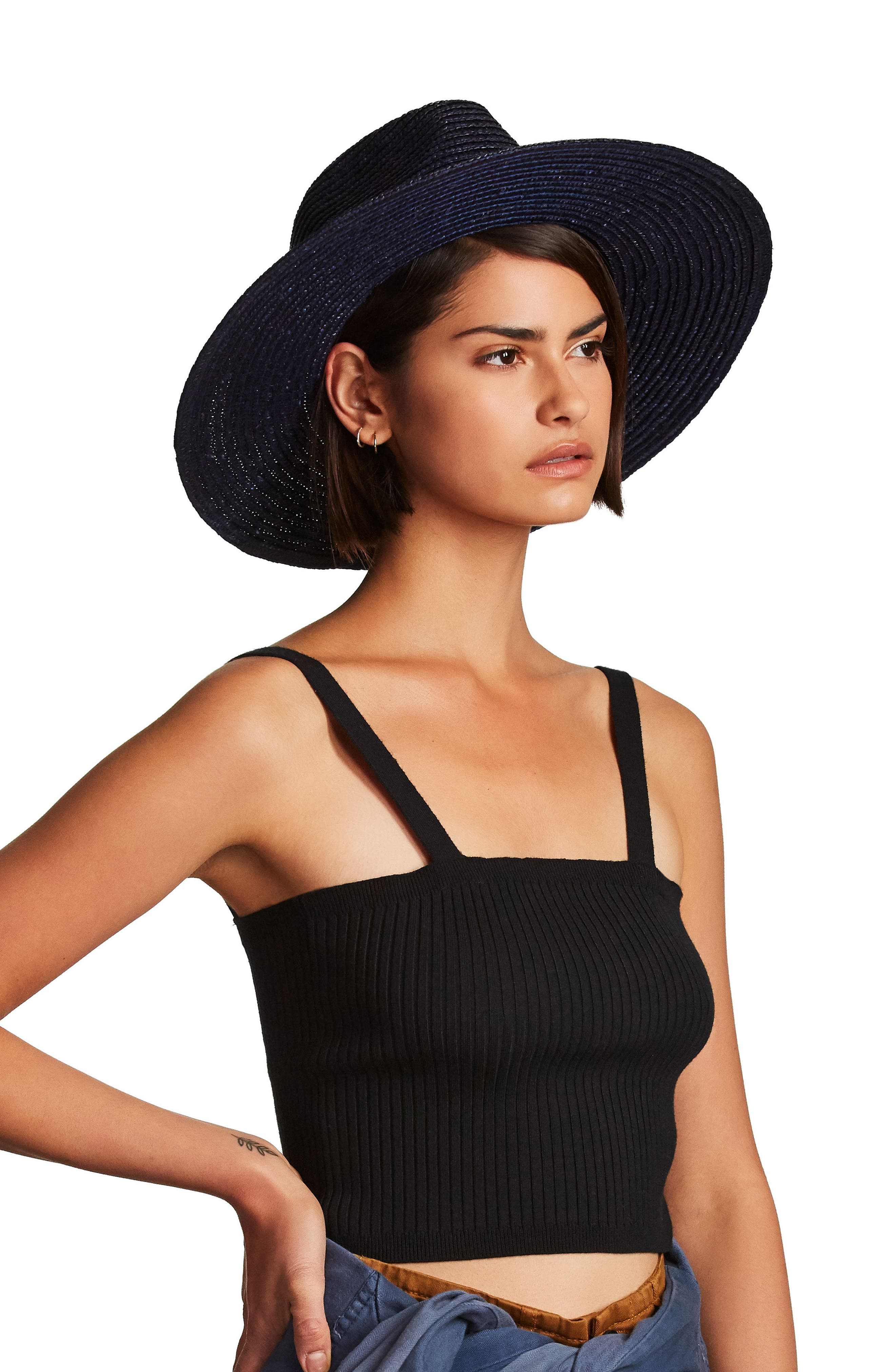 BRIXTON, 'Joanna' Straw Hat, Alternate thumbnail 9, color, LILAC