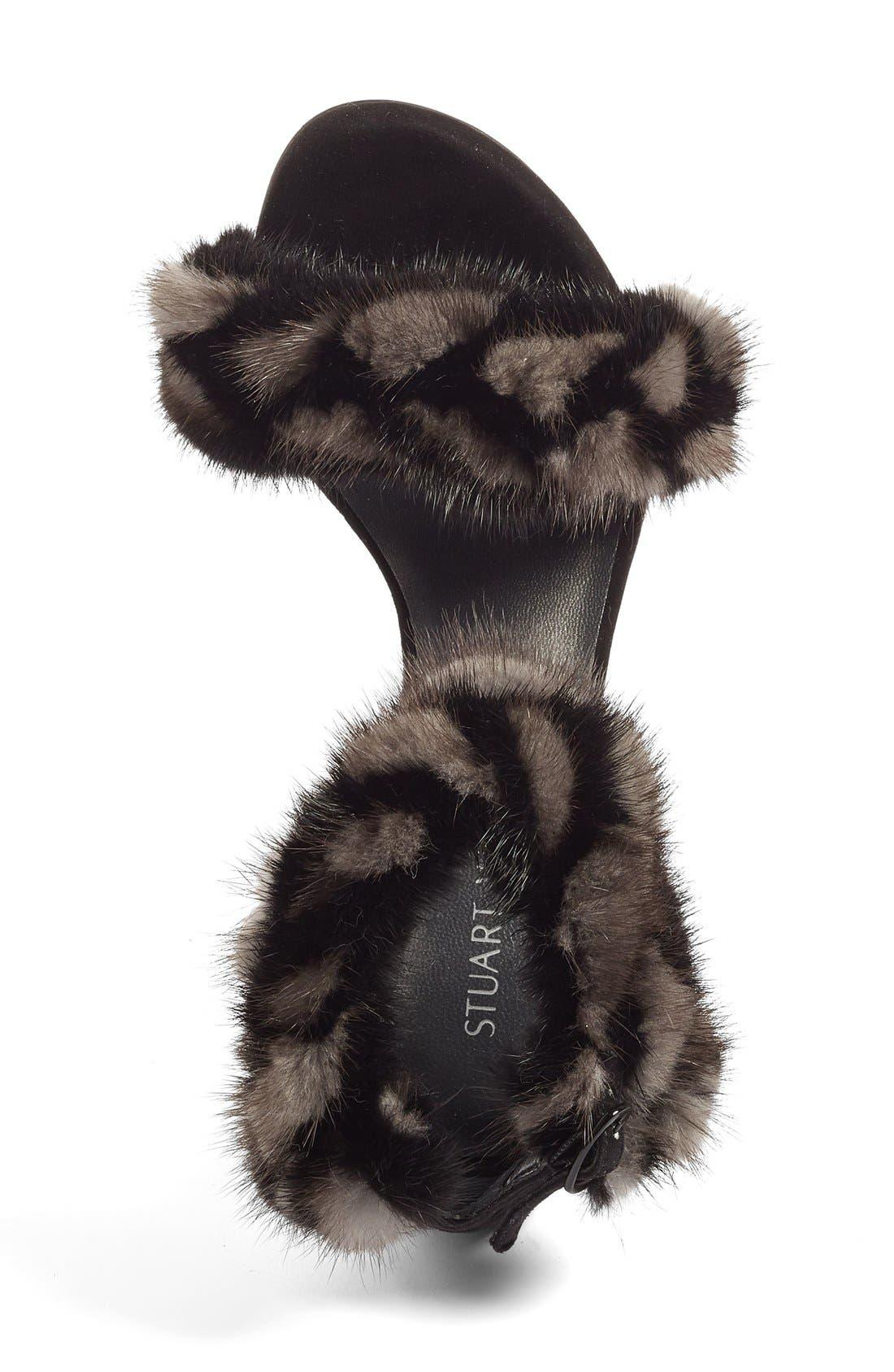 STUART WEITZMAN, 'Bunnylove' Genuine Mink Fur Ankle Strap Sandal, Alternate thumbnail 4, color, 980