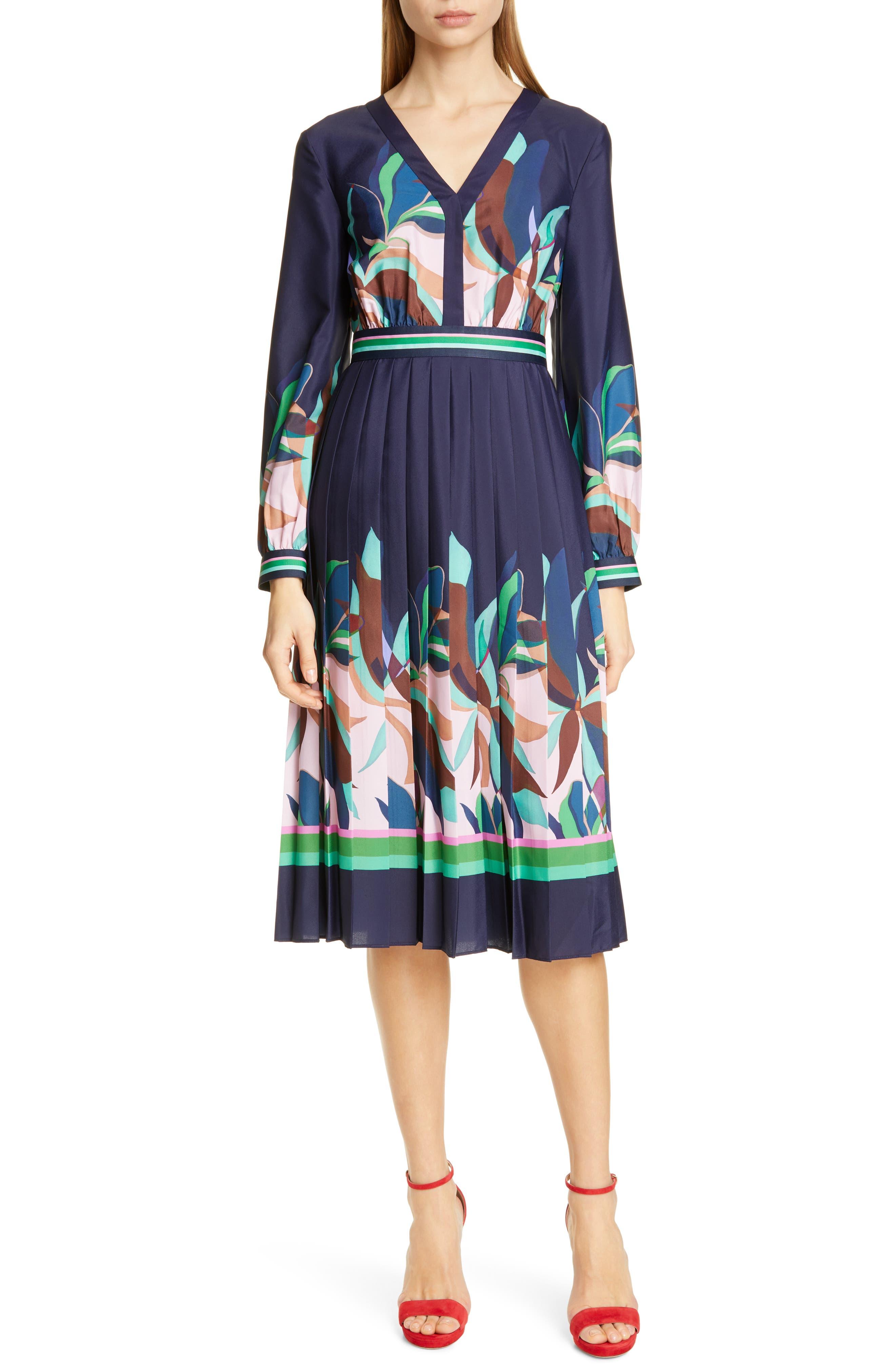 TED BAKER LONDON, Leonore Supernatural Fit & Flare Dress, Main thumbnail 1, color, NAVY