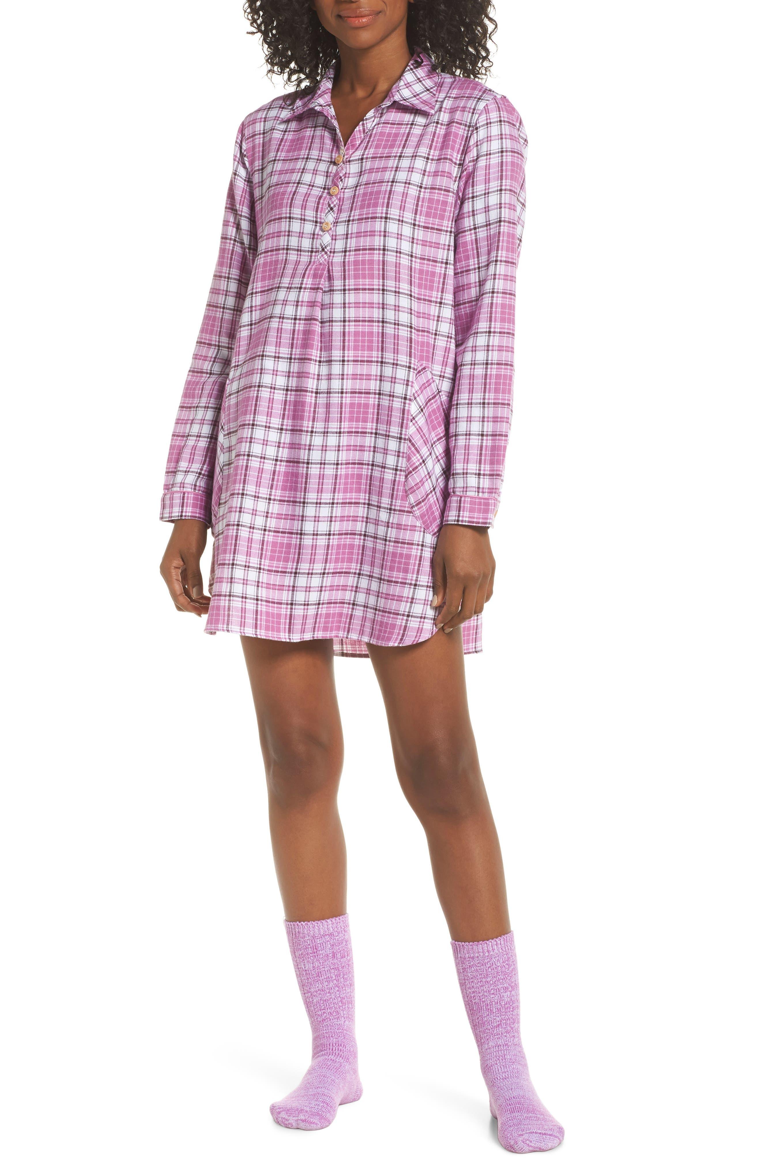 UGG<SUP>®</SUP> Sleep Shirt & Socks Set, Main, color, BODACIOUS PLAID