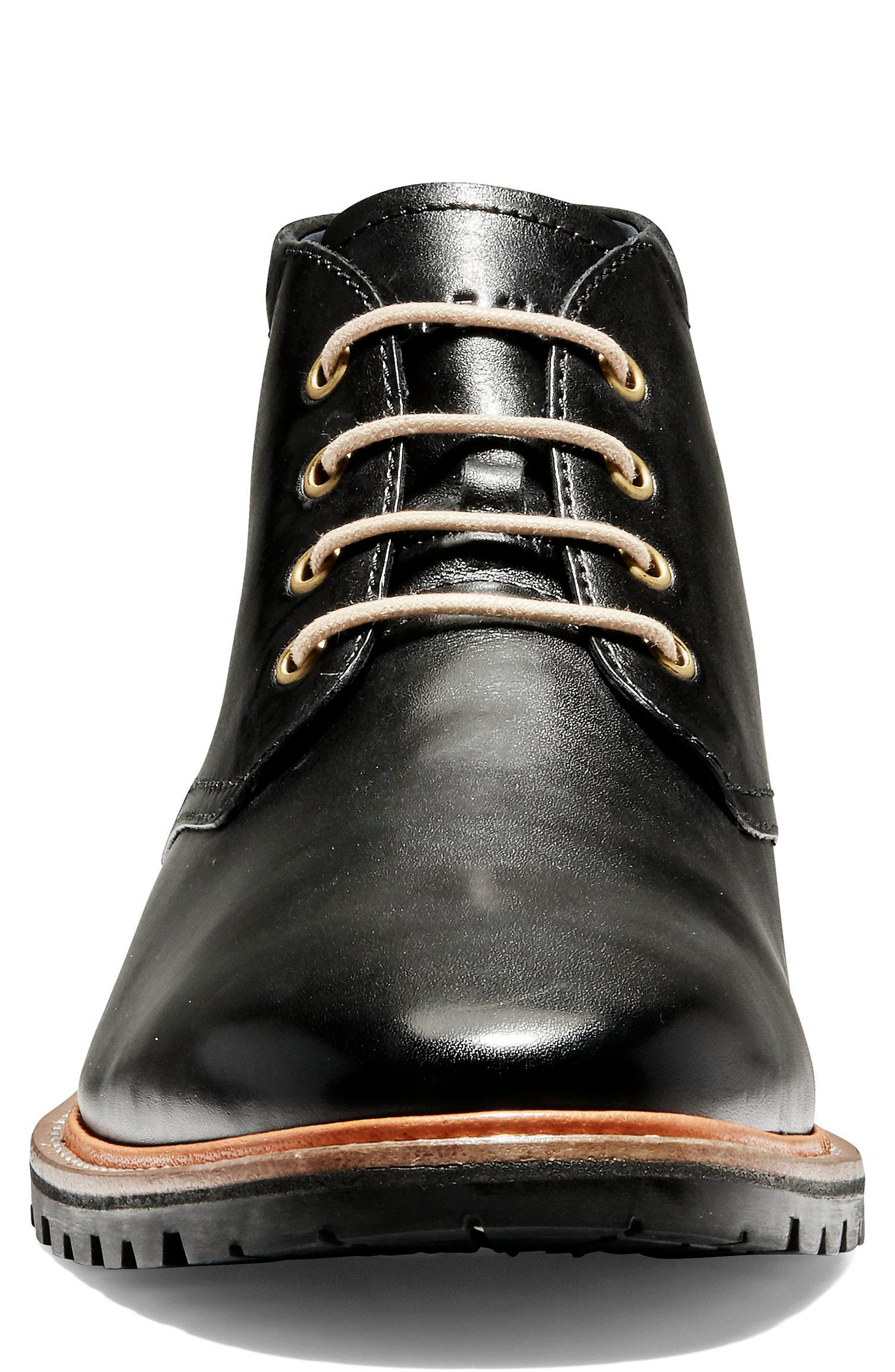 COLE HAAN, Raymond Grand Chukka Boot, Alternate thumbnail 4, color, BLACK LEATHER