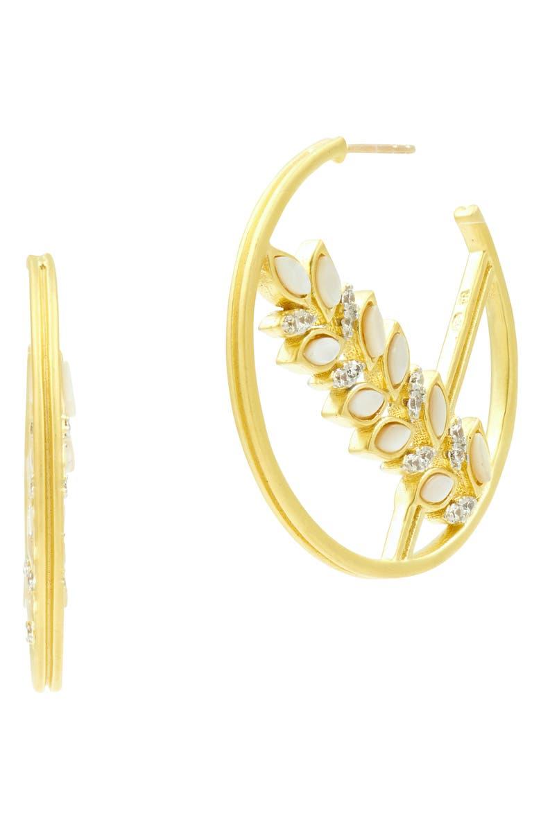 Freida Rothman Accessories FLEUR BLOOM HOOP EARRINGS