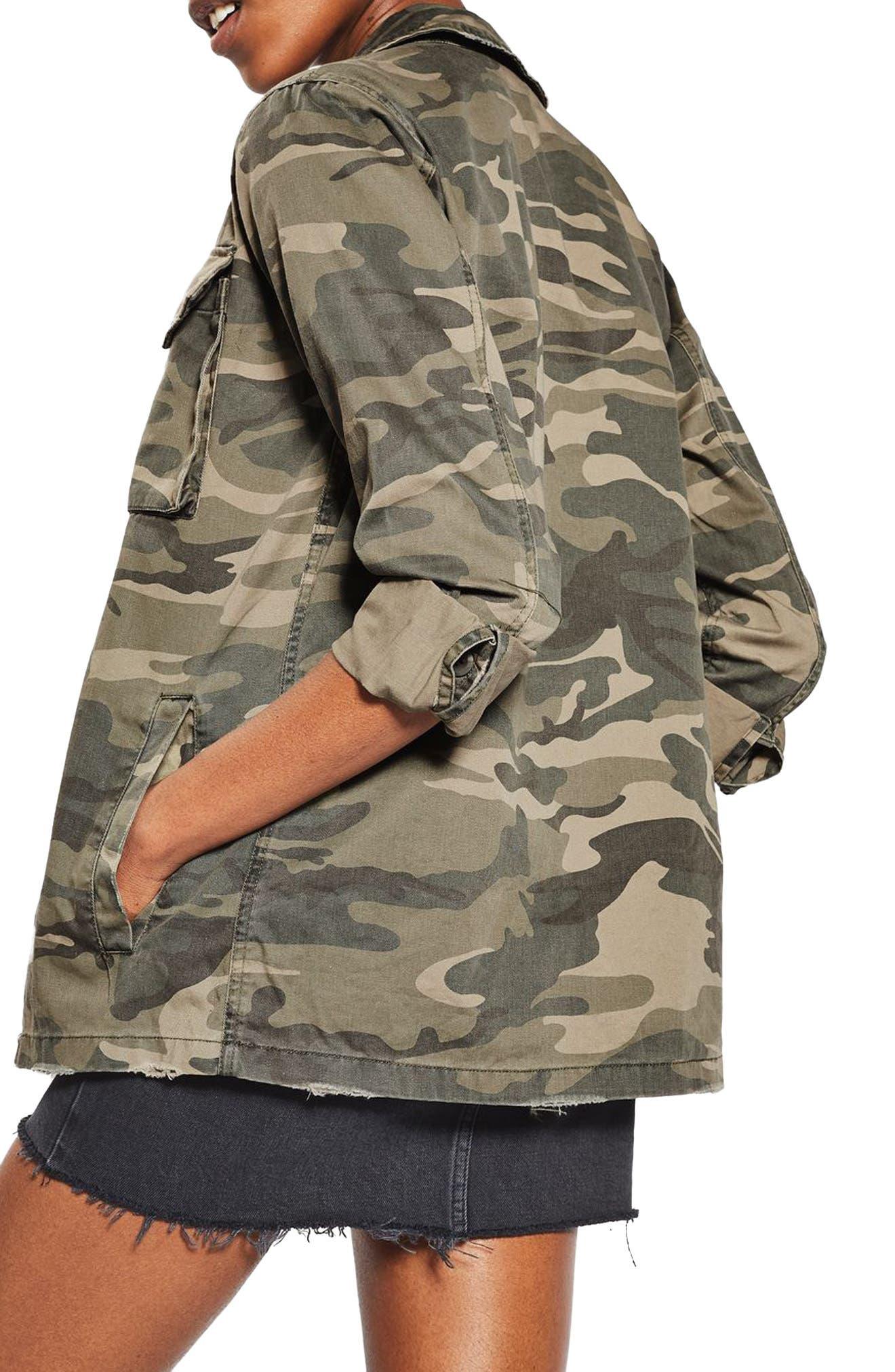 TOPSHOP, Sampson Camo Shirt Jacket, Alternate thumbnail 2, color, 300