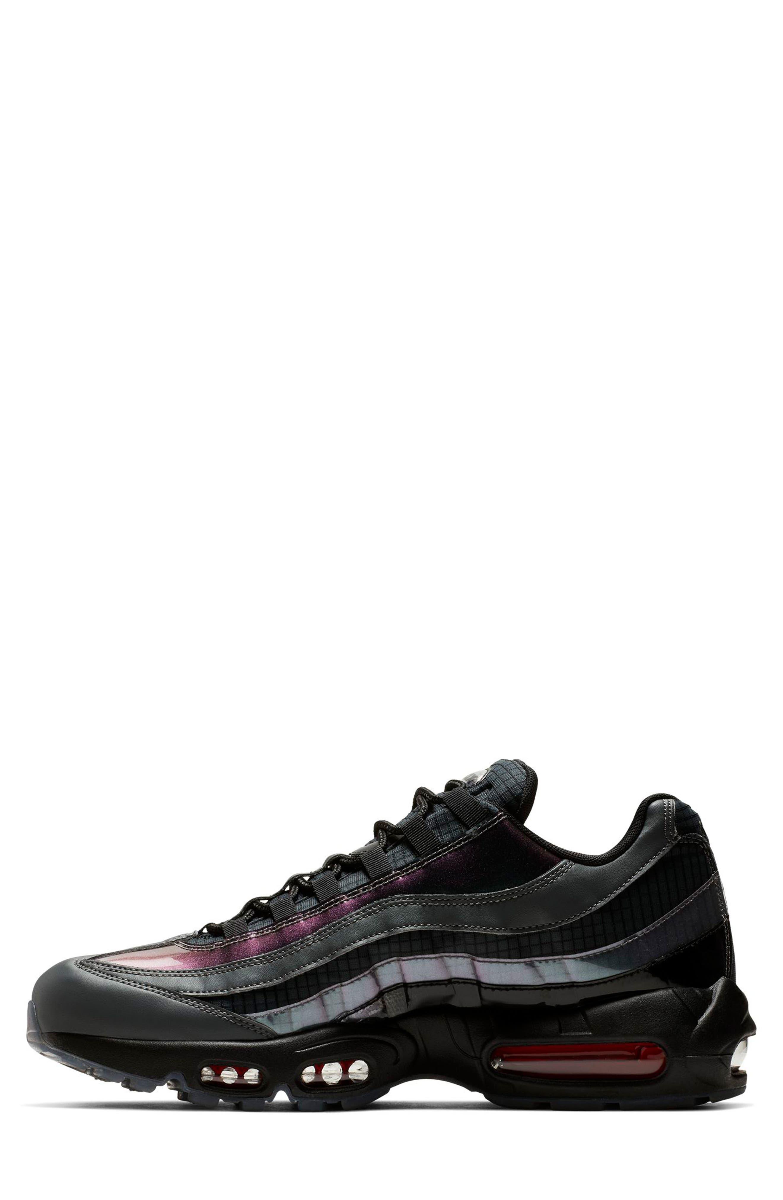 NIKE, Air Max 95 LV8 Sneaker, Alternate thumbnail 3, color, BLACK/ EMBER GLOW/ DARK GREY
