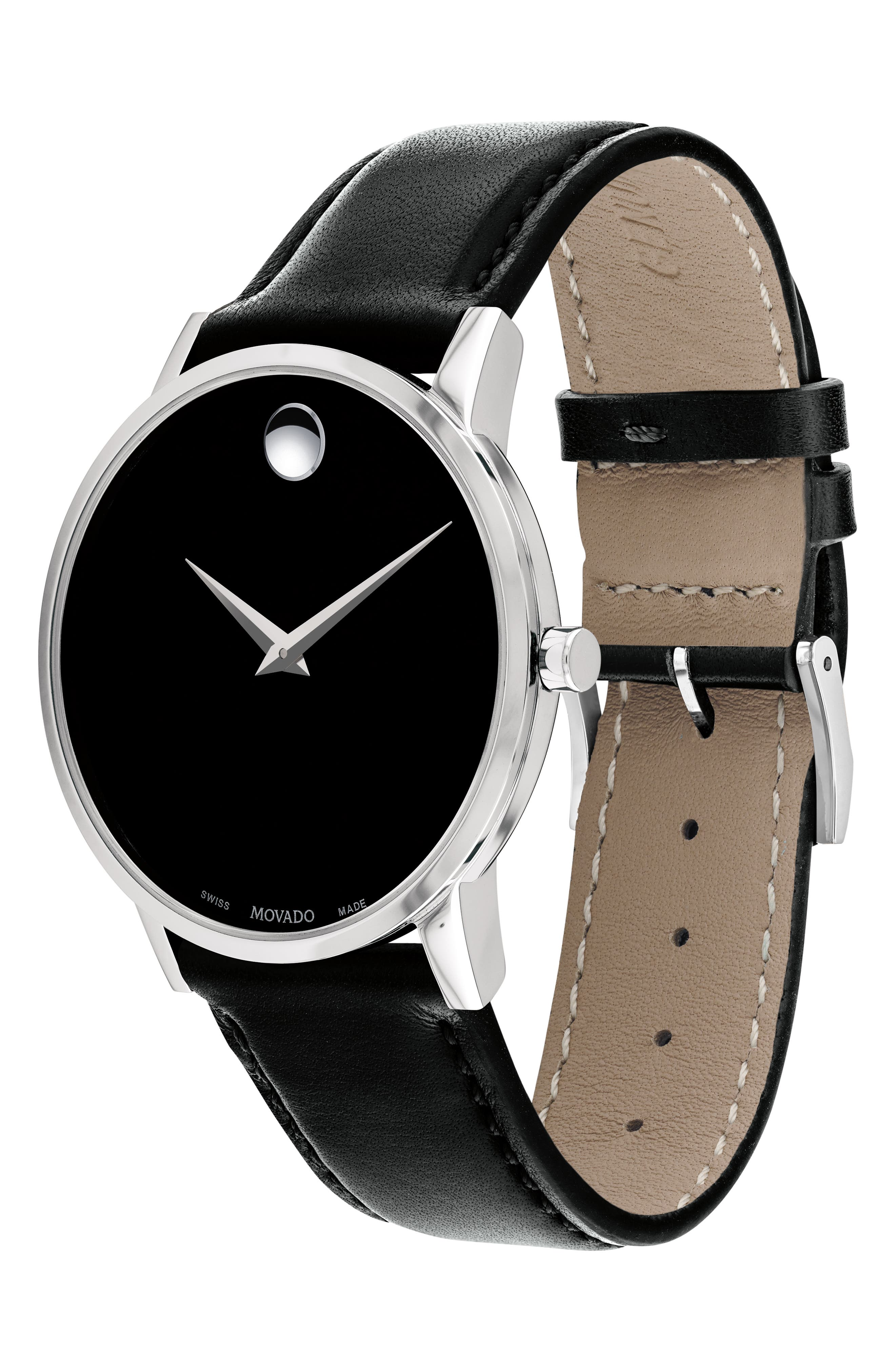 MOVADO, Leather Strap Watch, 40mm, Alternate thumbnail 2, color, BLACK/ SILVER