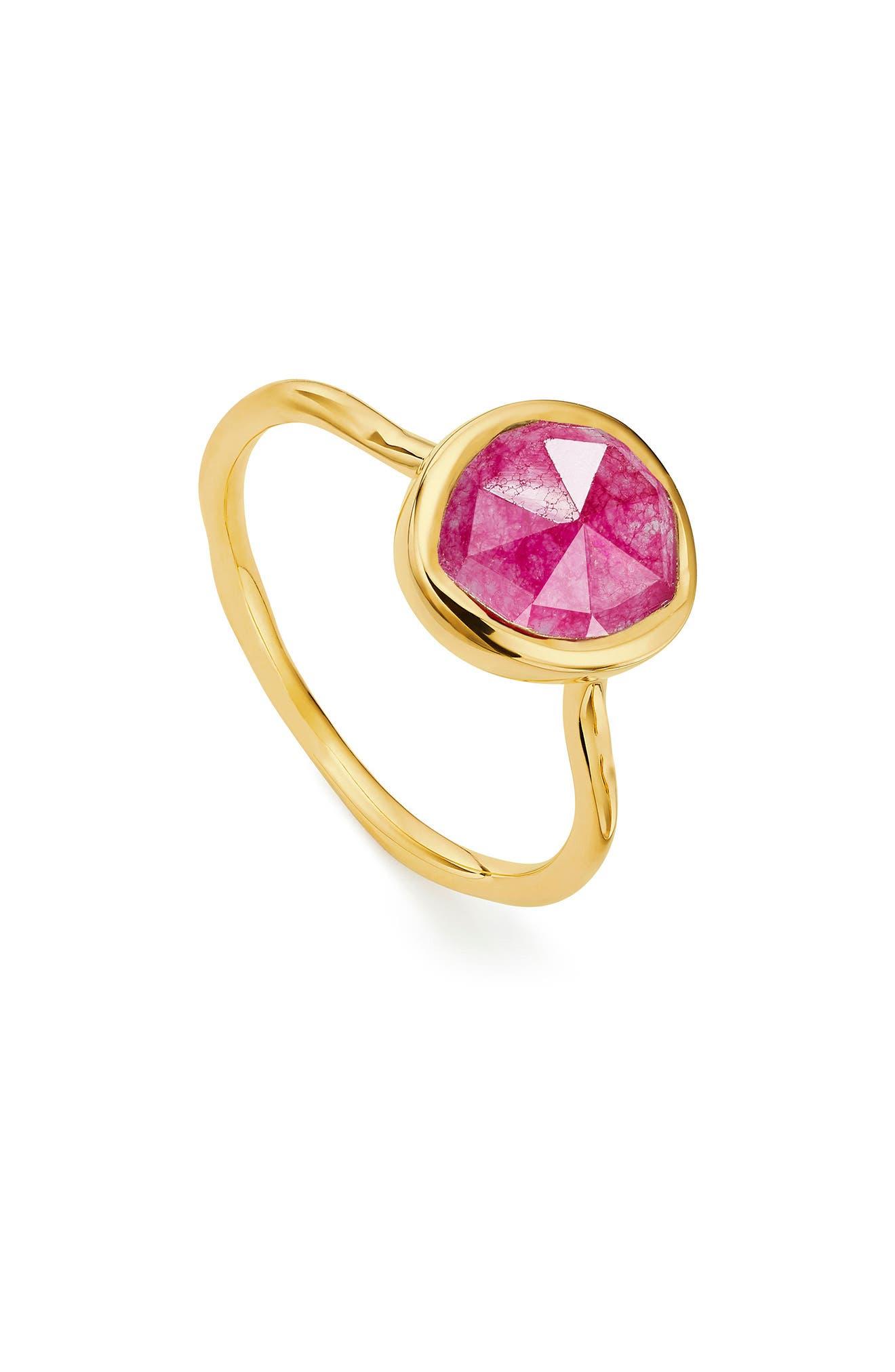 MONICA VINADER, Siren Semiprecious Stone Stacking Ring, Main thumbnail 1, color, GOLD/ PINK QUARTZ