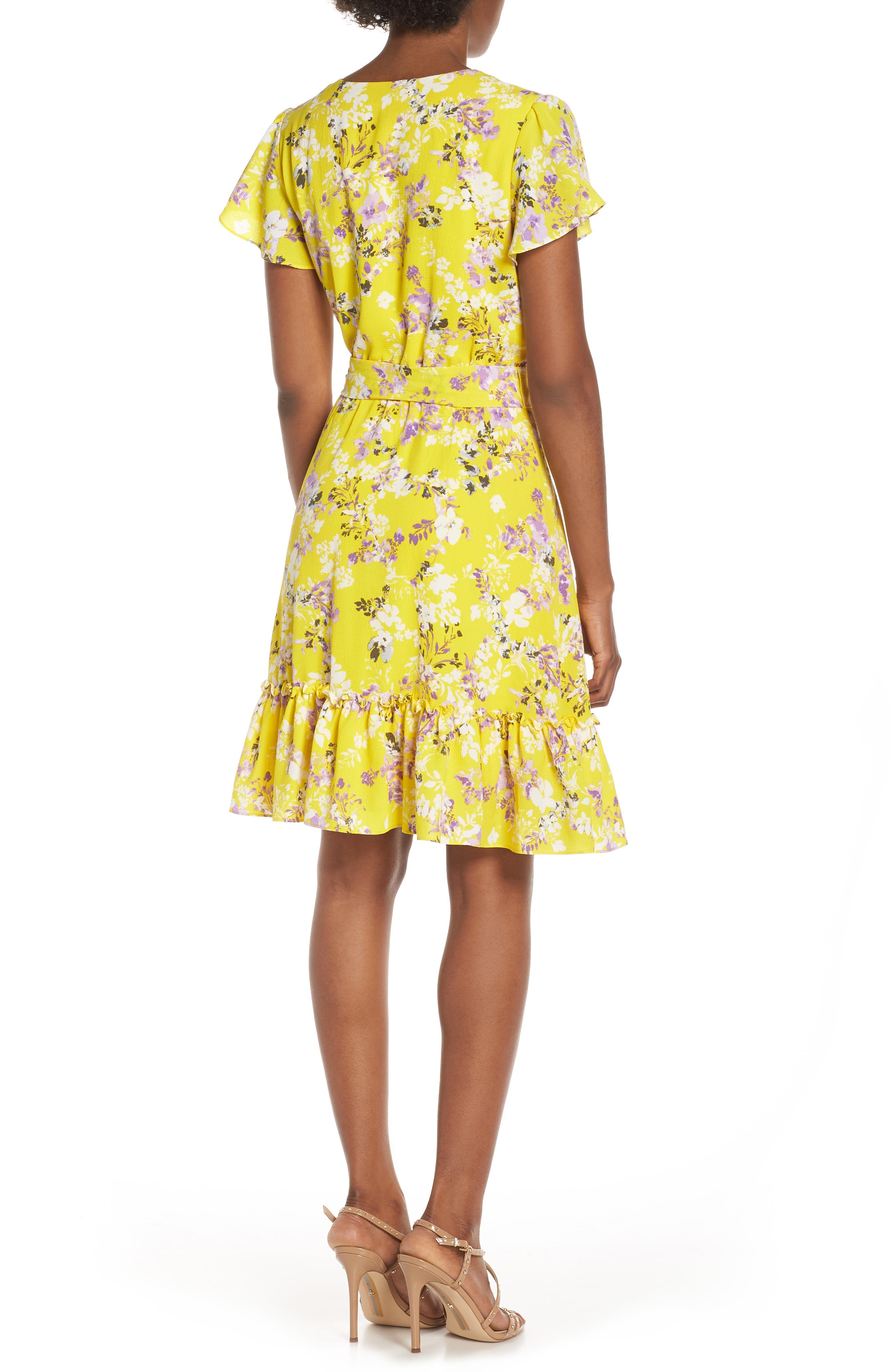 JULIA JORDAN, Floral Wrap Dress, Alternate thumbnail 2, color, YELLOW MULTI