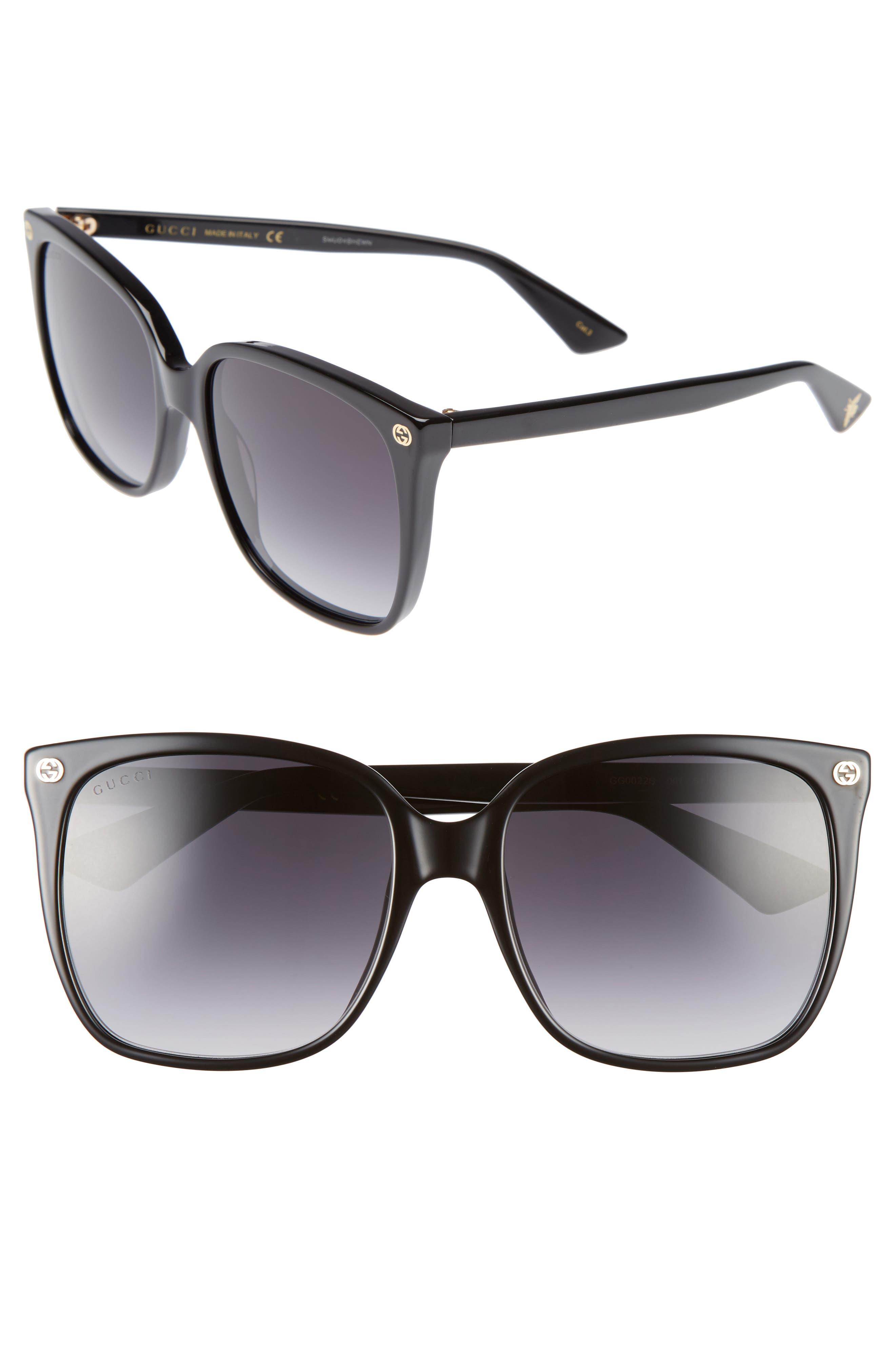 GUCCI 57mm Square Sunglasses, Main, color, BLACK/ GREY