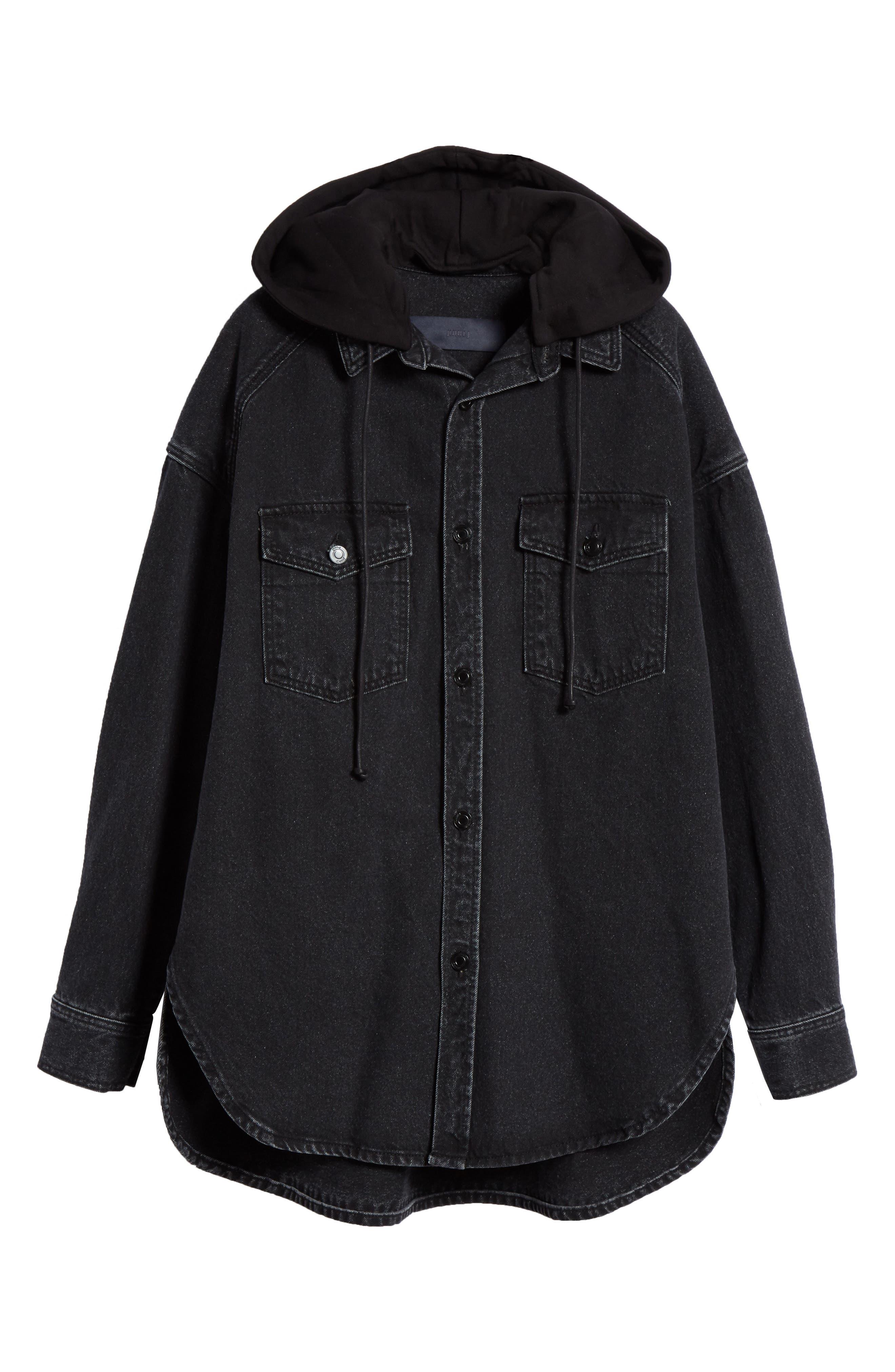JUUN.J, Denim Shirt with Detachable Hood, Alternate thumbnail 6, color, BLACK