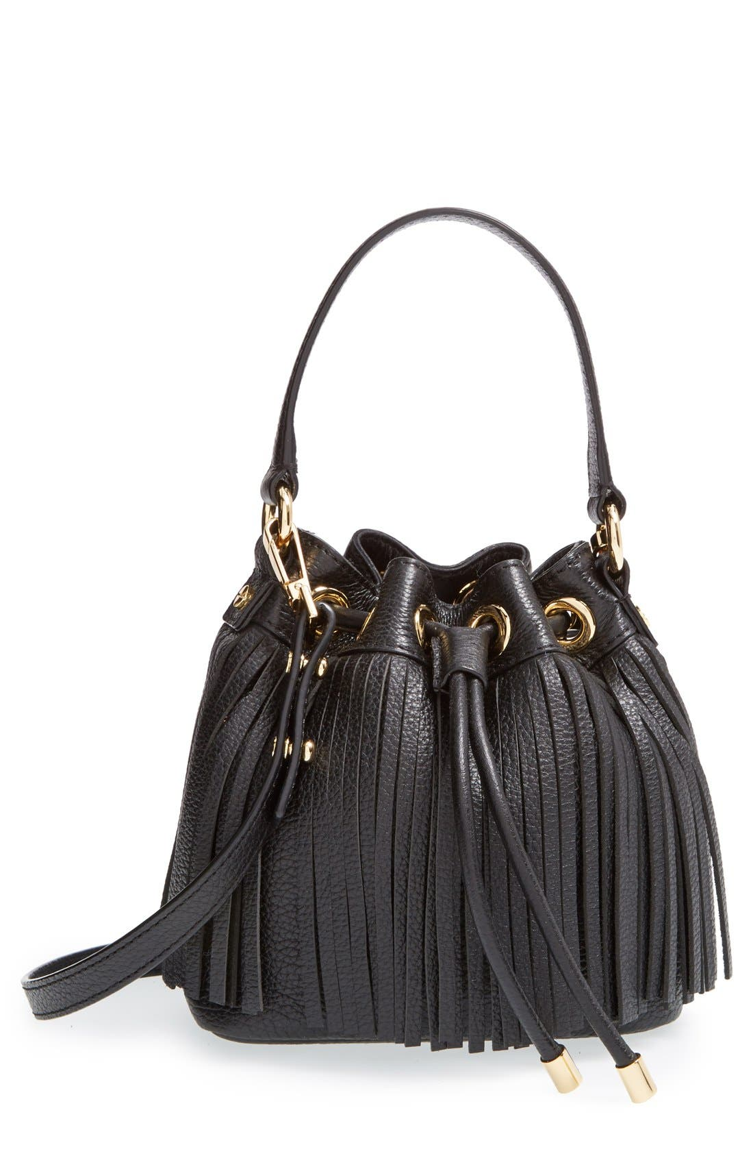 MILLY, 'Small Essex' Fringed Leather Bucket Bag, Main thumbnail 1, color, 001