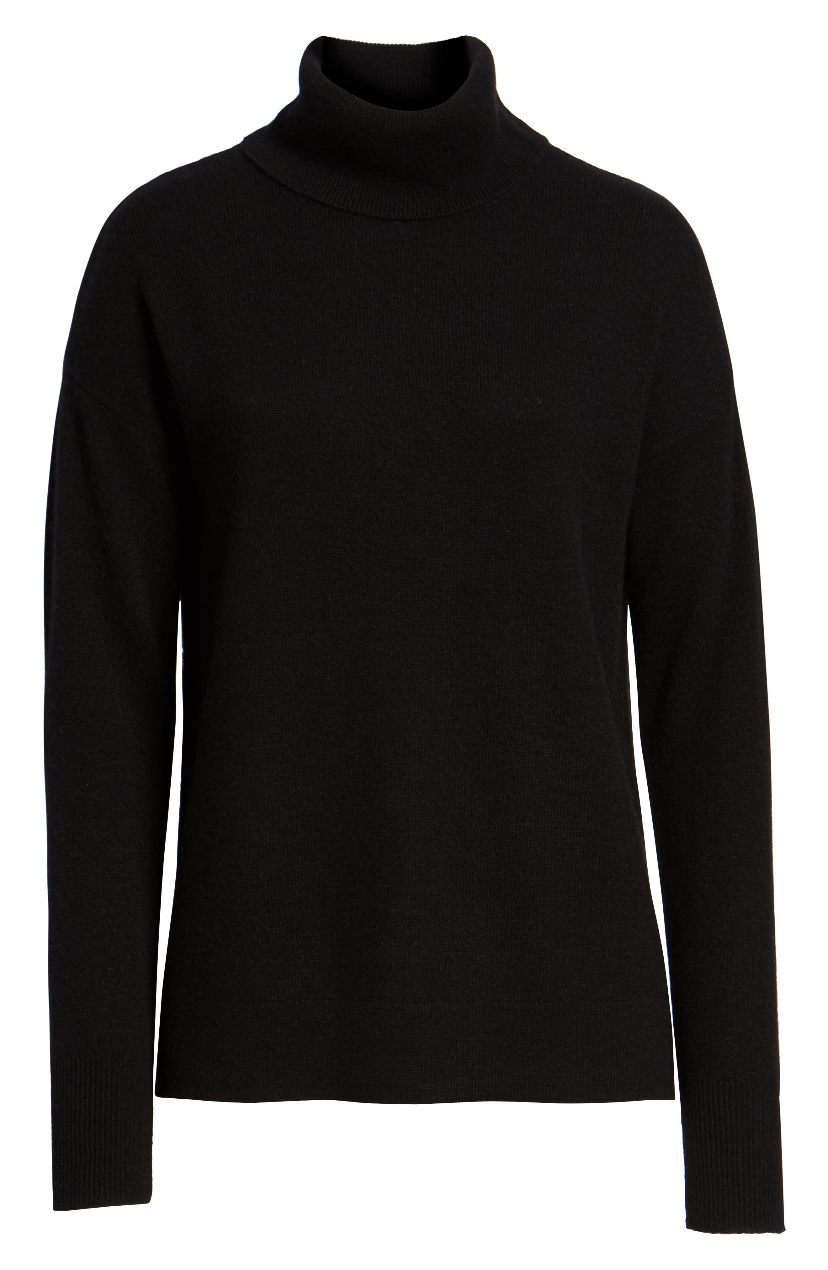 HALOGEN<SUP>®</SUP>, Cashmere Turtleneck Sweater, Alternate thumbnail 6, color, 001