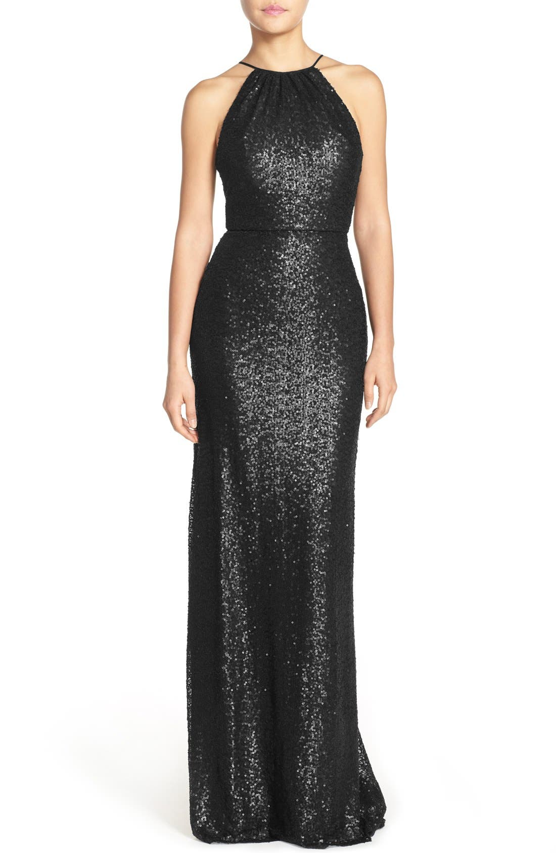 AMSALE, 'Chandler' Sequin Tulle Halter Style Gown, Main thumbnail 1, color, 001