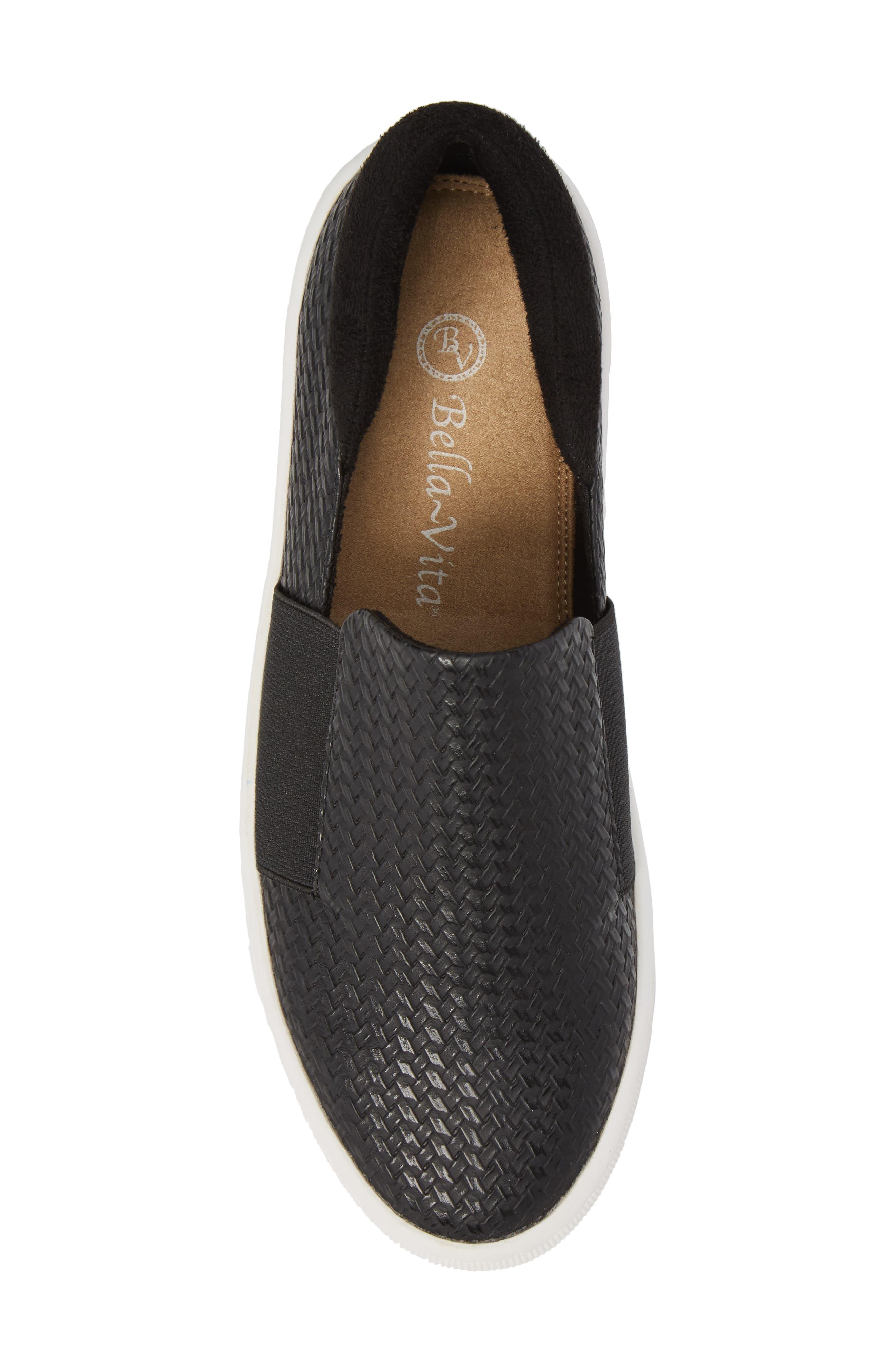 BELLA VITA, Ramp II Slip-On Sneaker, Alternate thumbnail 5, color, BLACK FABRIC