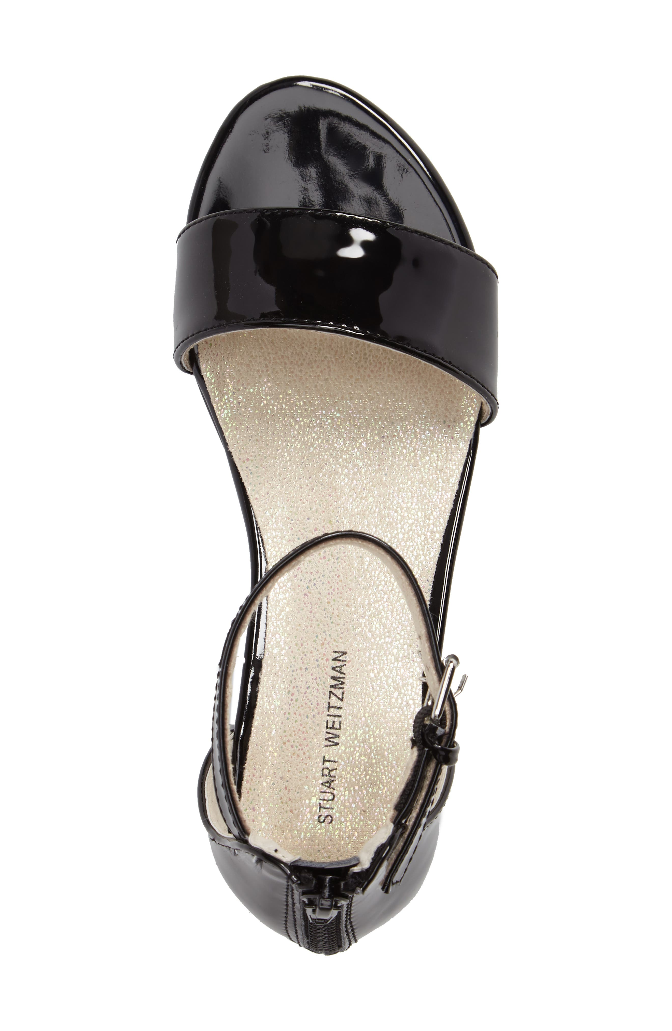 STUART WEITZMAN, Penelope Nola Sandal, Alternate thumbnail 5, color, BLACK FAUX PATENT