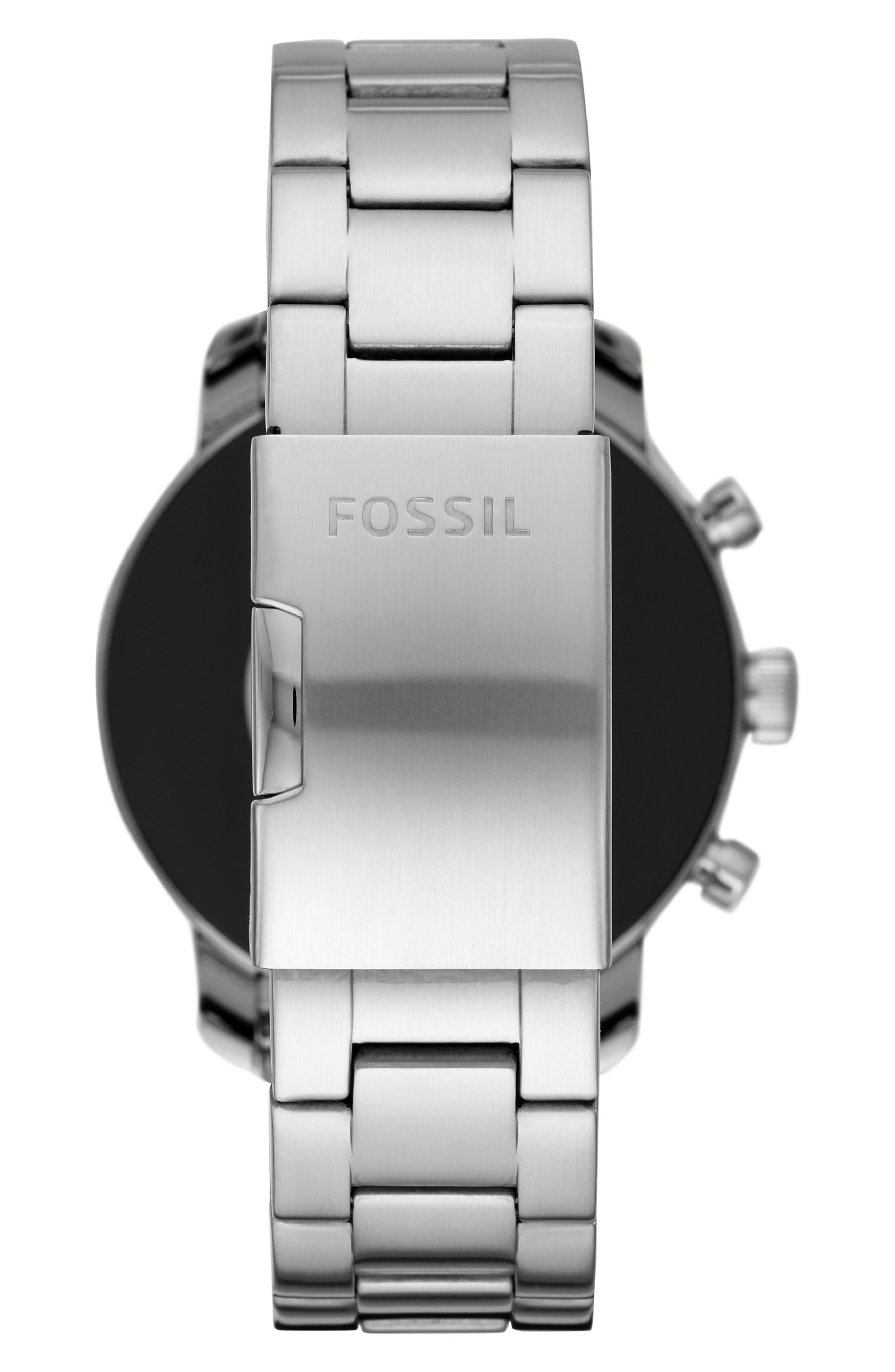 FOSSIL, Q Explorist HR Gen 4 Bracelet Strap Smart Watch, 45mm, Alternate thumbnail 2, color, SILVER