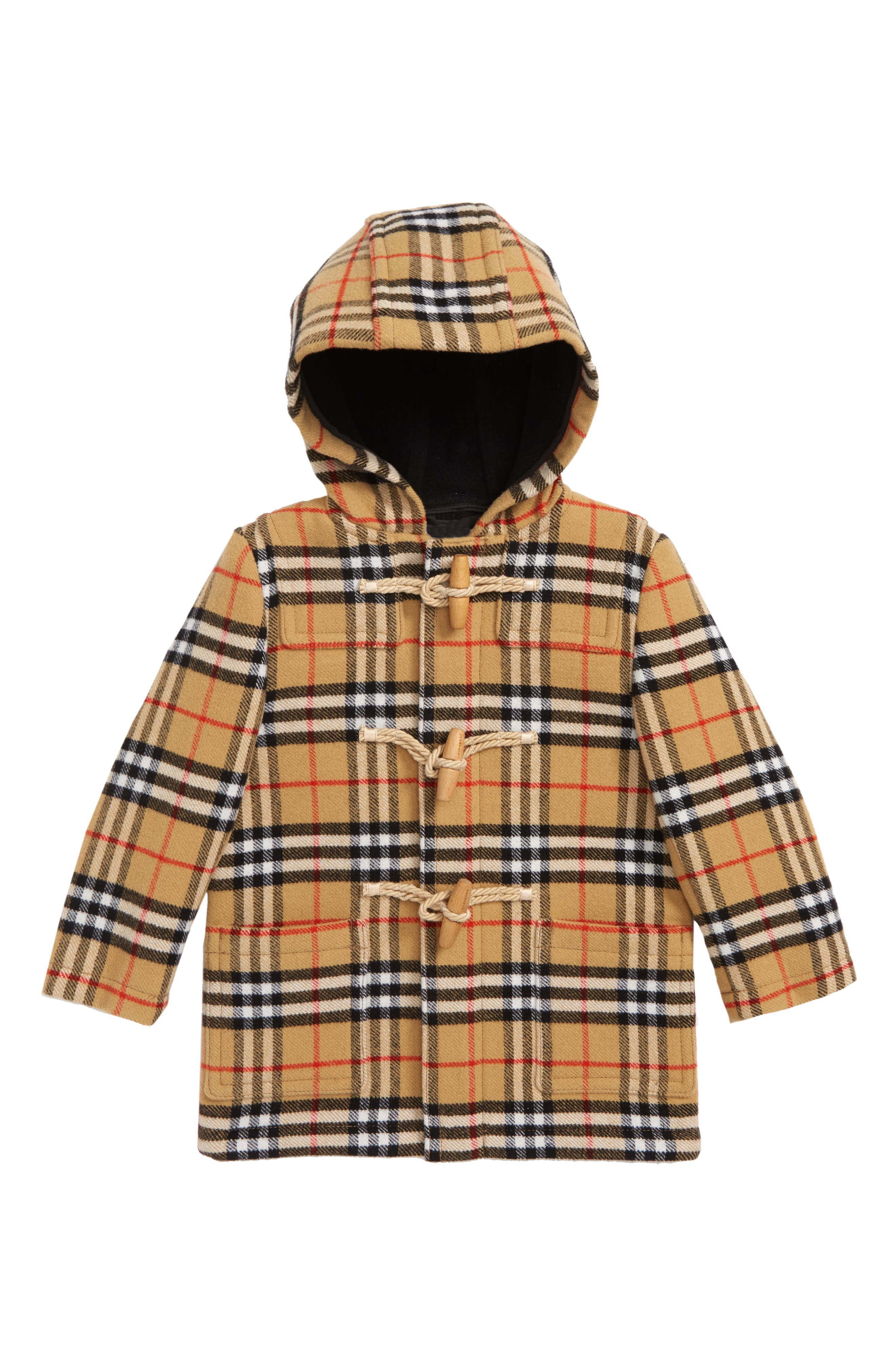 BURBERRY, Brogan Hooded Wool Toggle Coat, Main thumbnail 1, color, 001
