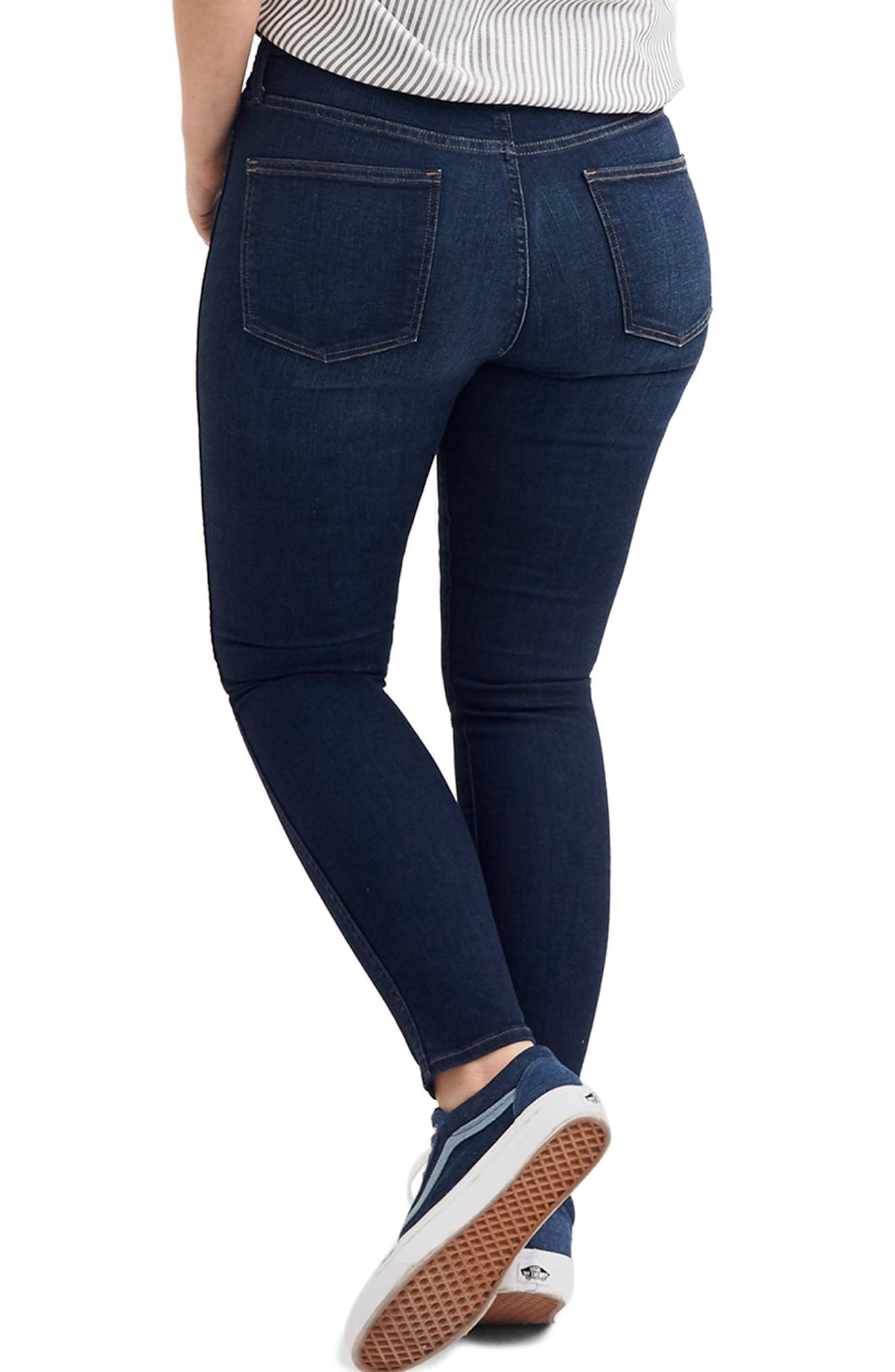 MADEWELL, 10-Inch High Rise Skinny Jeans, Alternate thumbnail 8, color, HAYES WASH