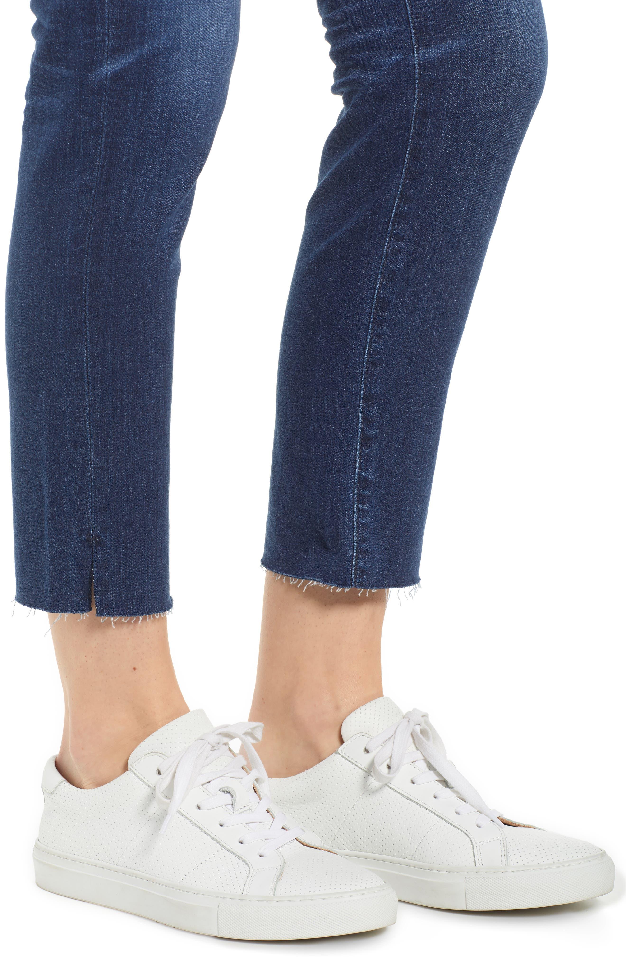 AG, The Prima Raw Hem Crop Jeans, Alternate thumbnail 5, color, 05Y BLUE ESSENCE