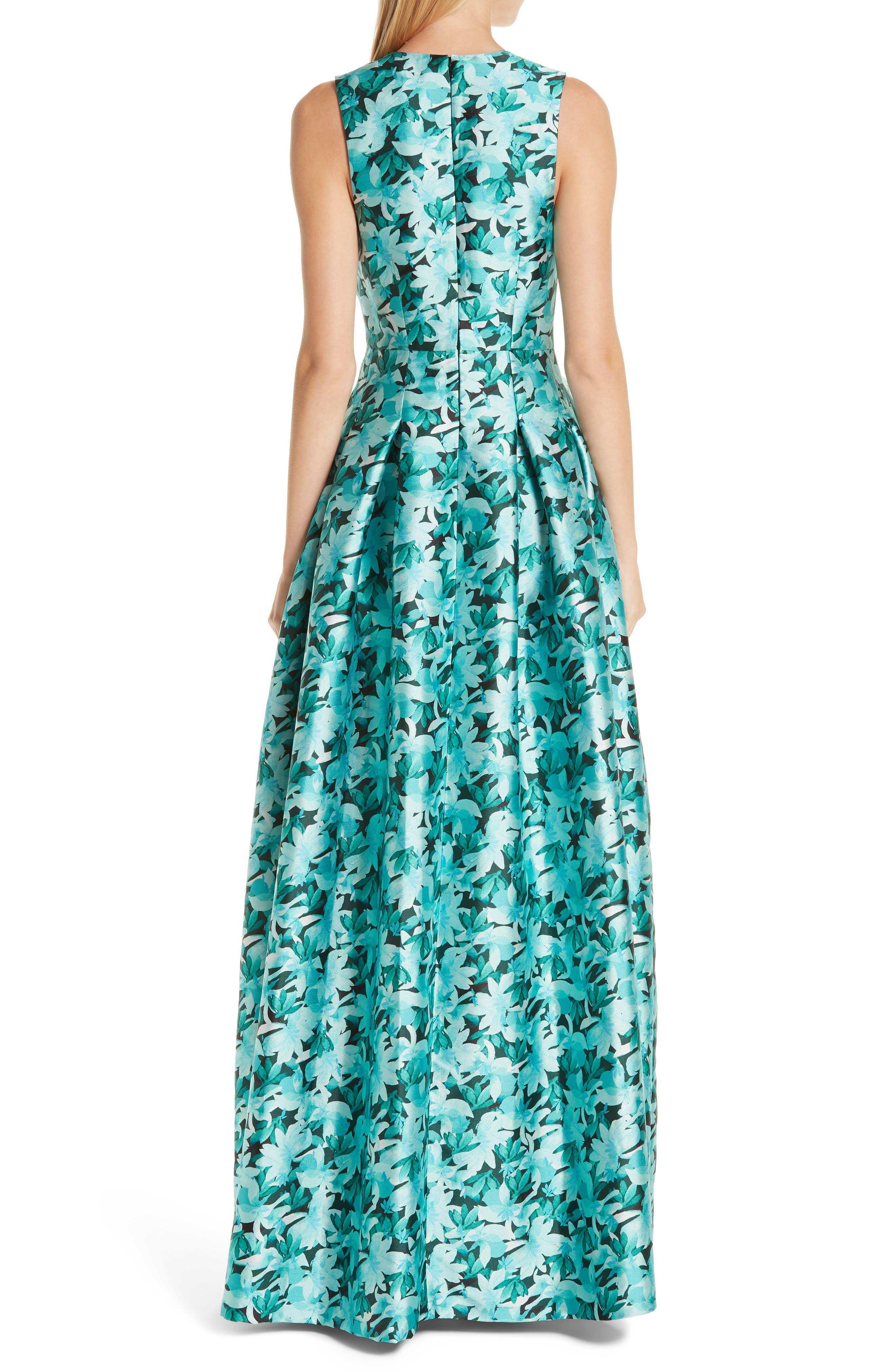 SACHIN & BABI, Brooke Floral Print Gown, Alternate thumbnail 2, color, TEAL
