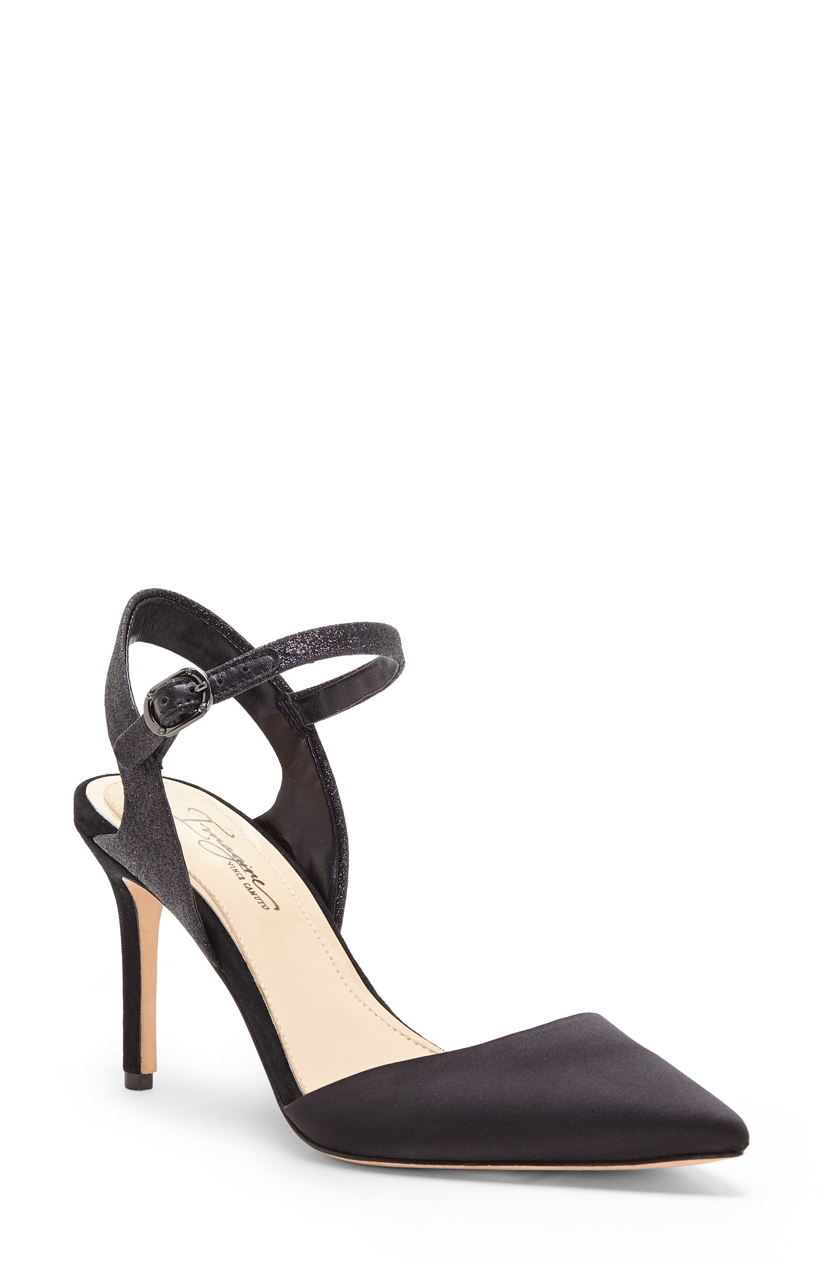 IMAGINE BY VINCE CAMUTO Glora Pointy Toe Pump, Main, color, BLACK SATIN