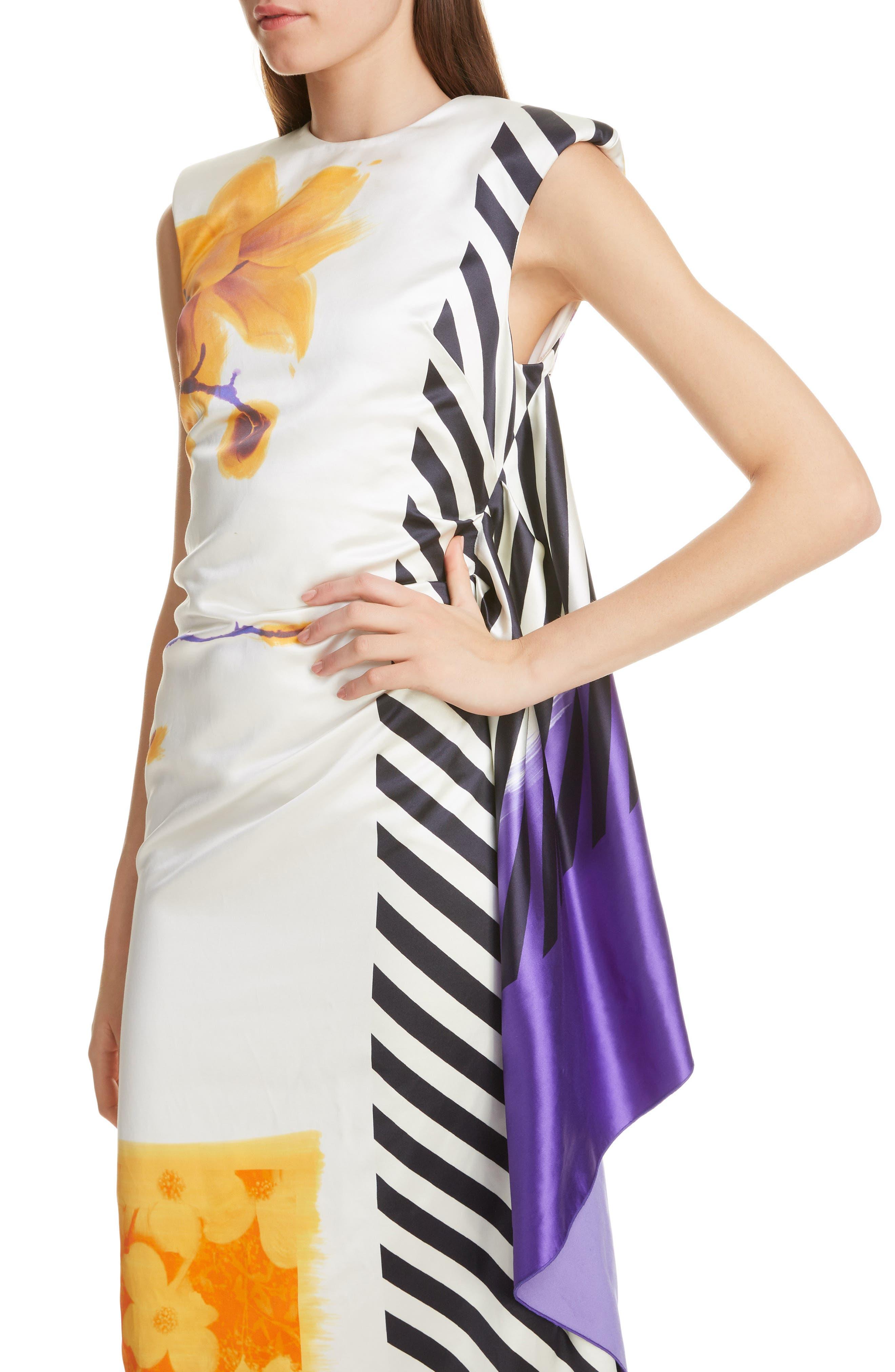 DRIES VAN NOTEN, Hand Painted Floral Evening Dress, Alternate thumbnail 4, color, 100