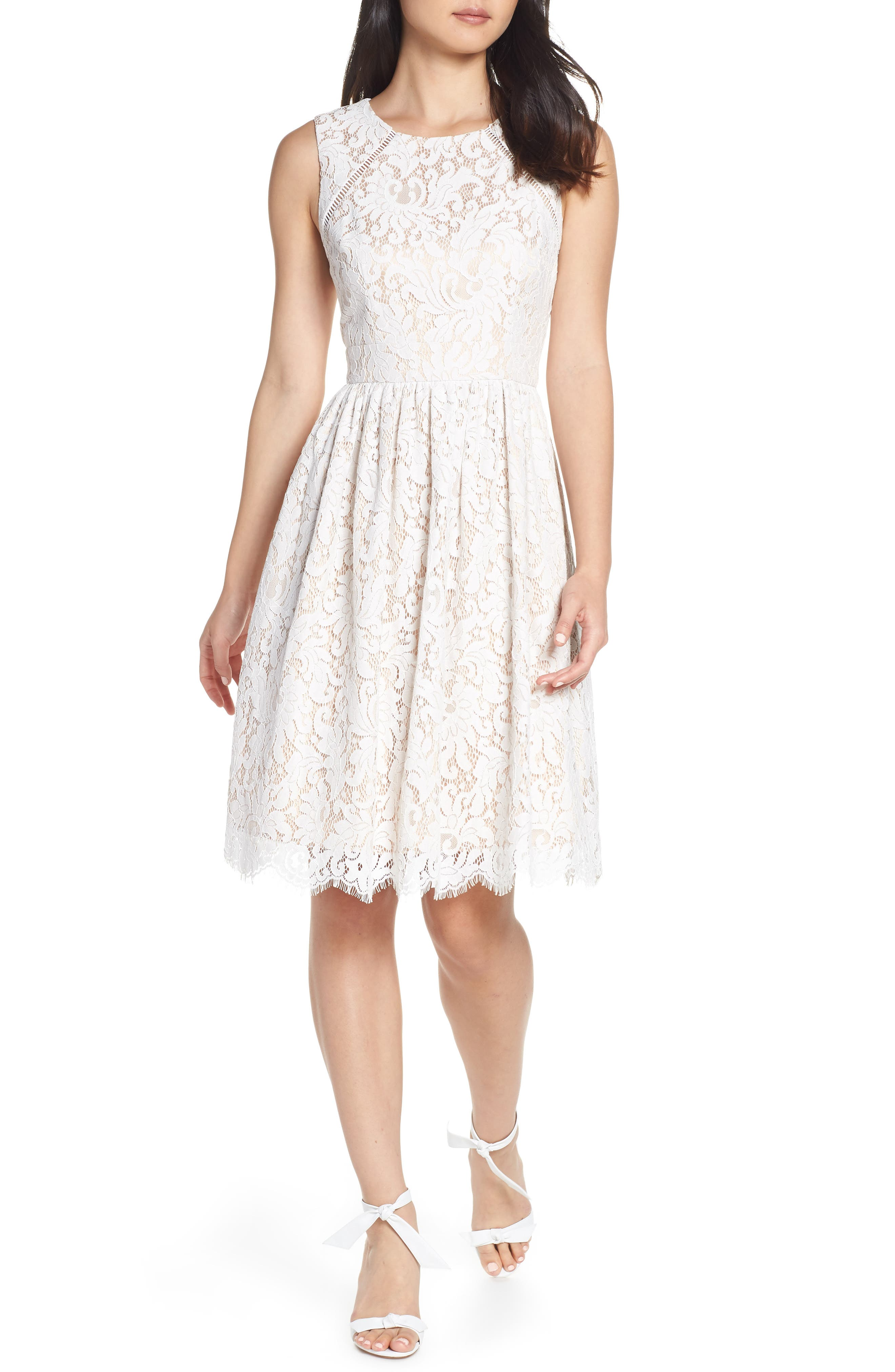 ELIZA J, Lace Fit & Flare Dress, Main thumbnail 1, color, IVORY