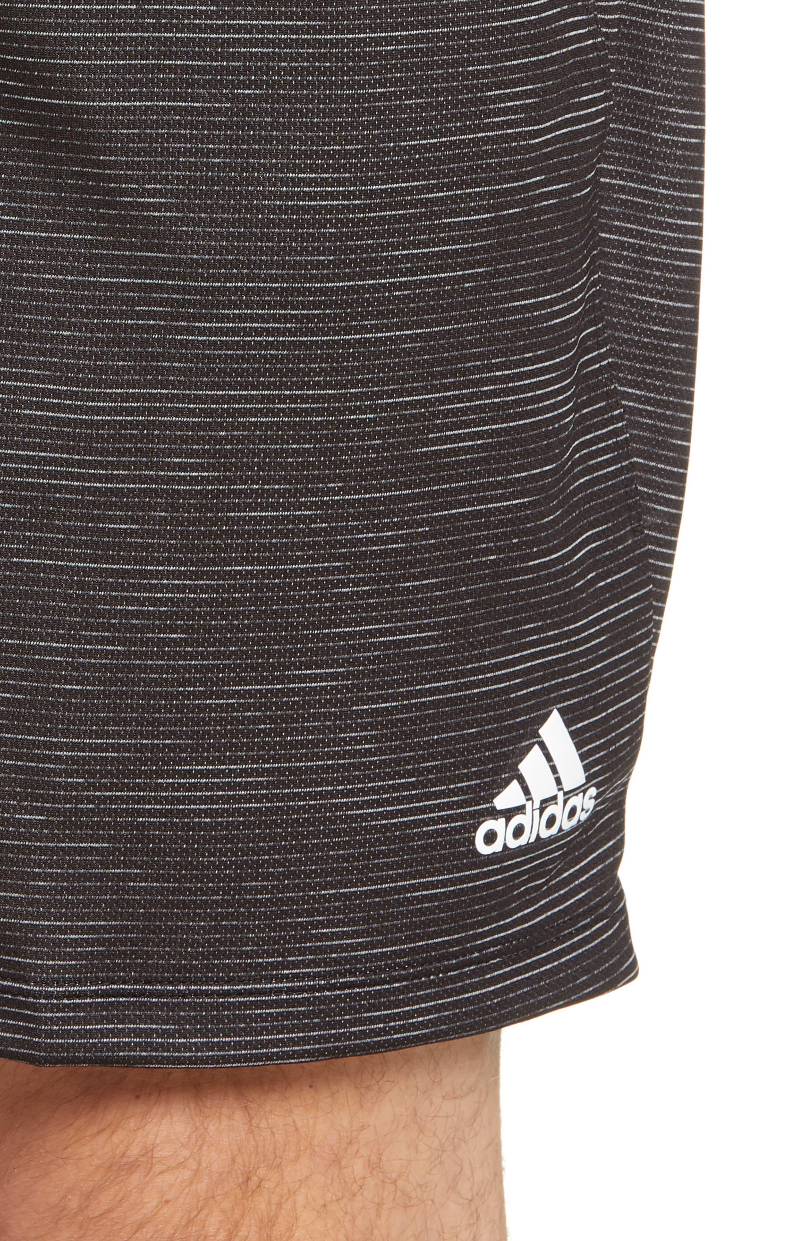 ADIDAS, Knit Shorts, Alternate thumbnail 5, color, BLACK