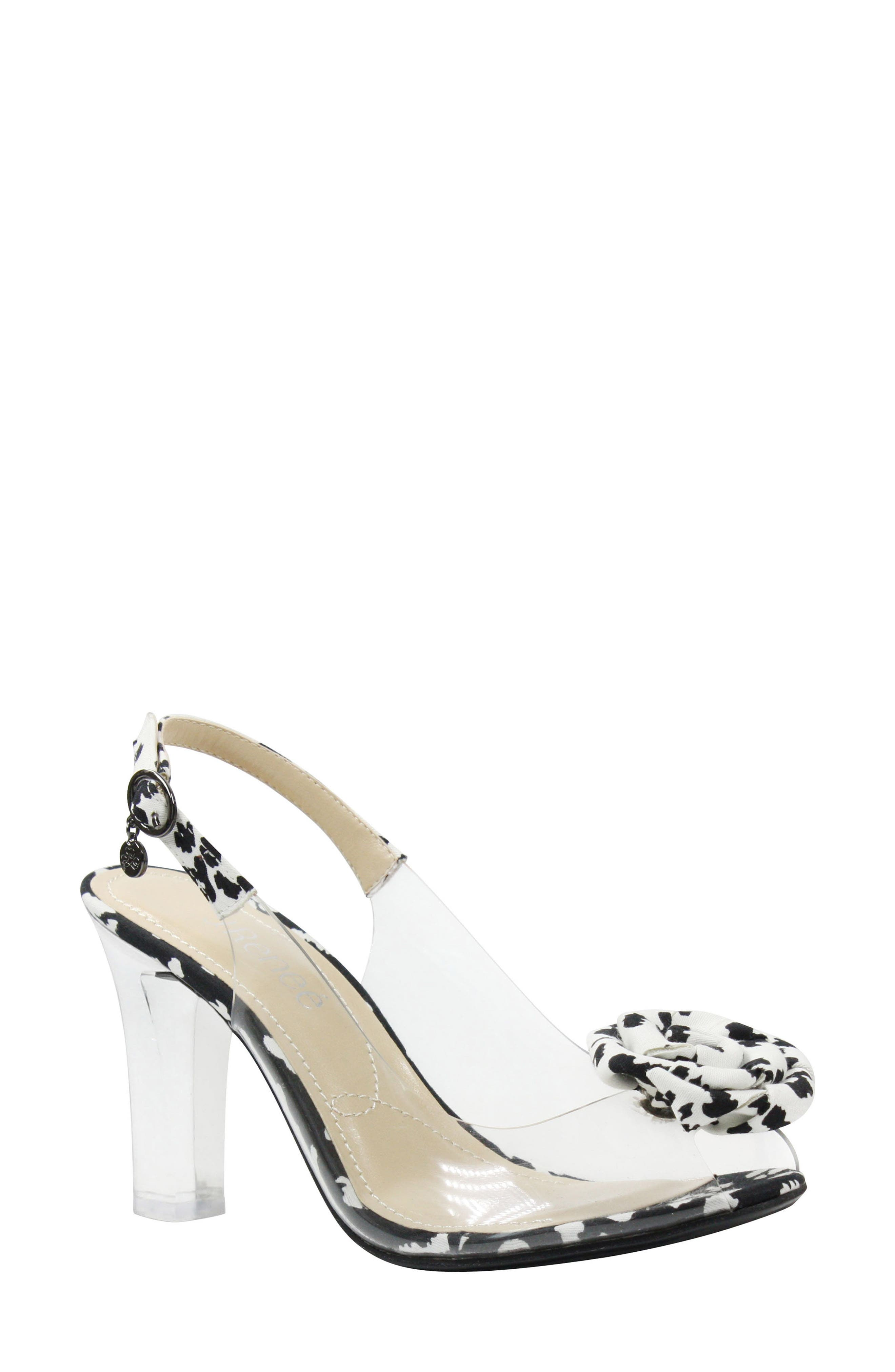J. RENEÉ Adoracion Slingback Sandal, Main, color, CLEAR/ BLACK/ WHITE