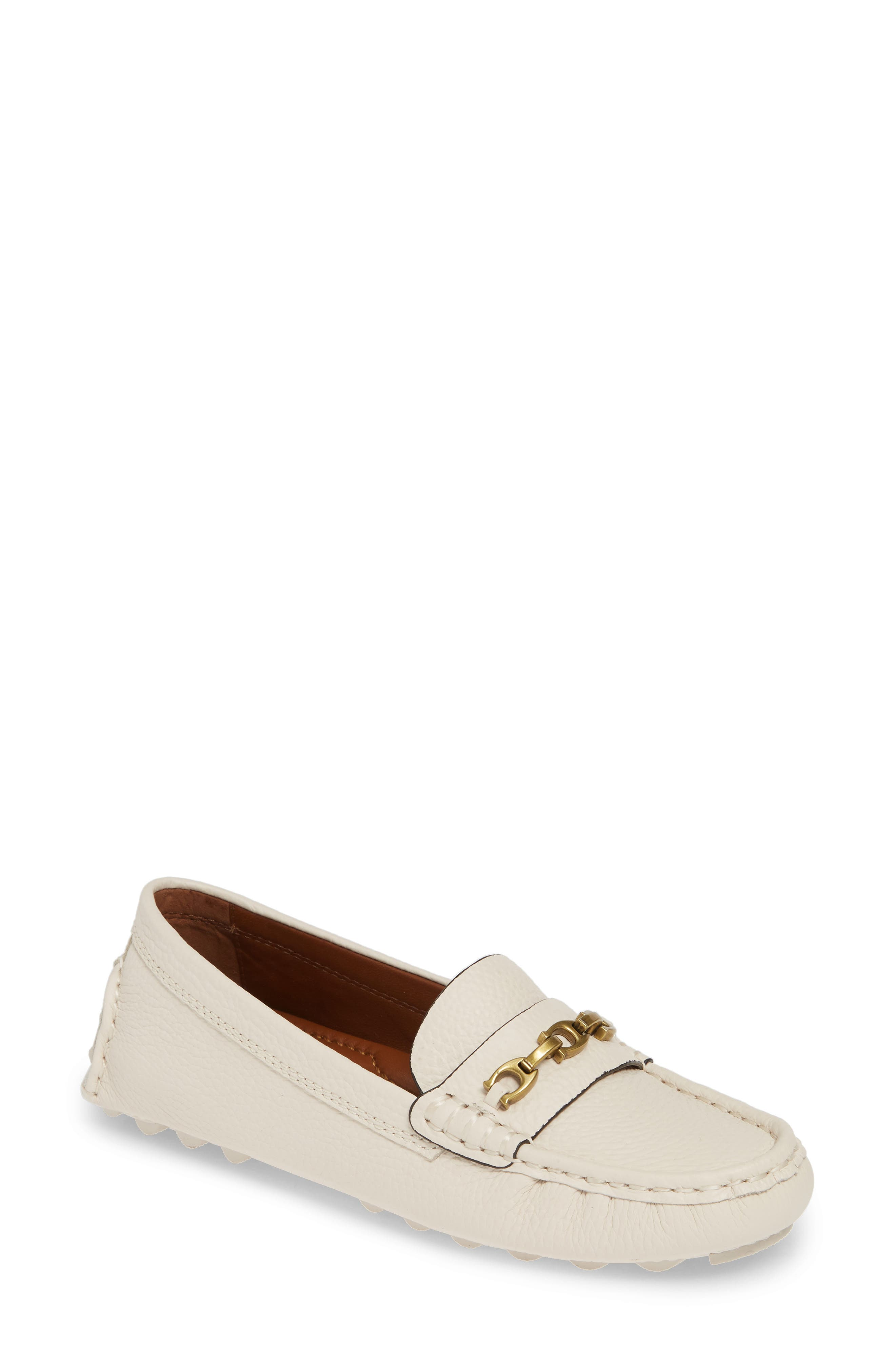 COACH, Crosby Driver Loafer, Main thumbnail 1, color, CHALK LEATHER