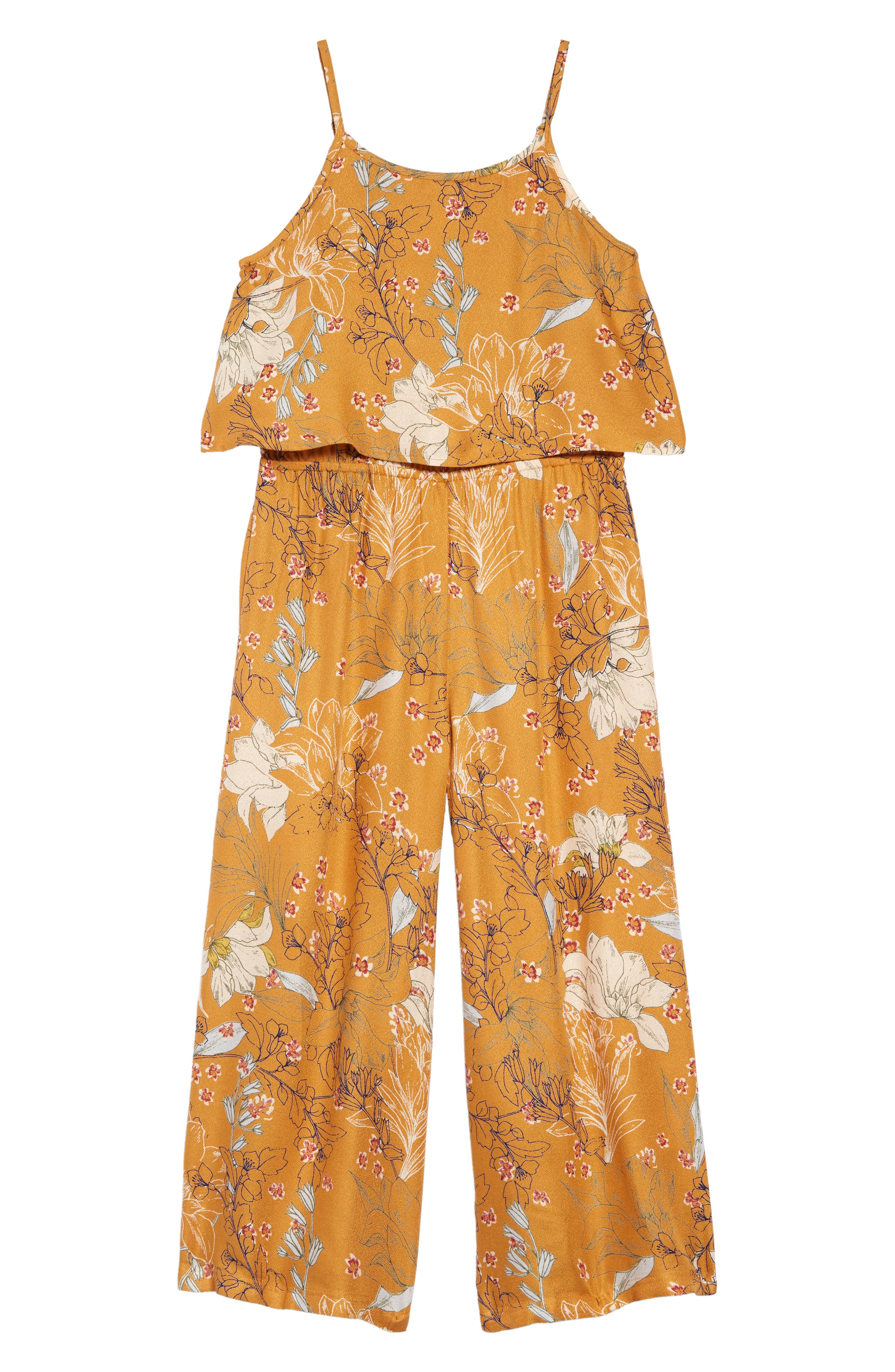 Girls ONeill Peony Sleeveless Jumpsuit Size S (78)  Yellow