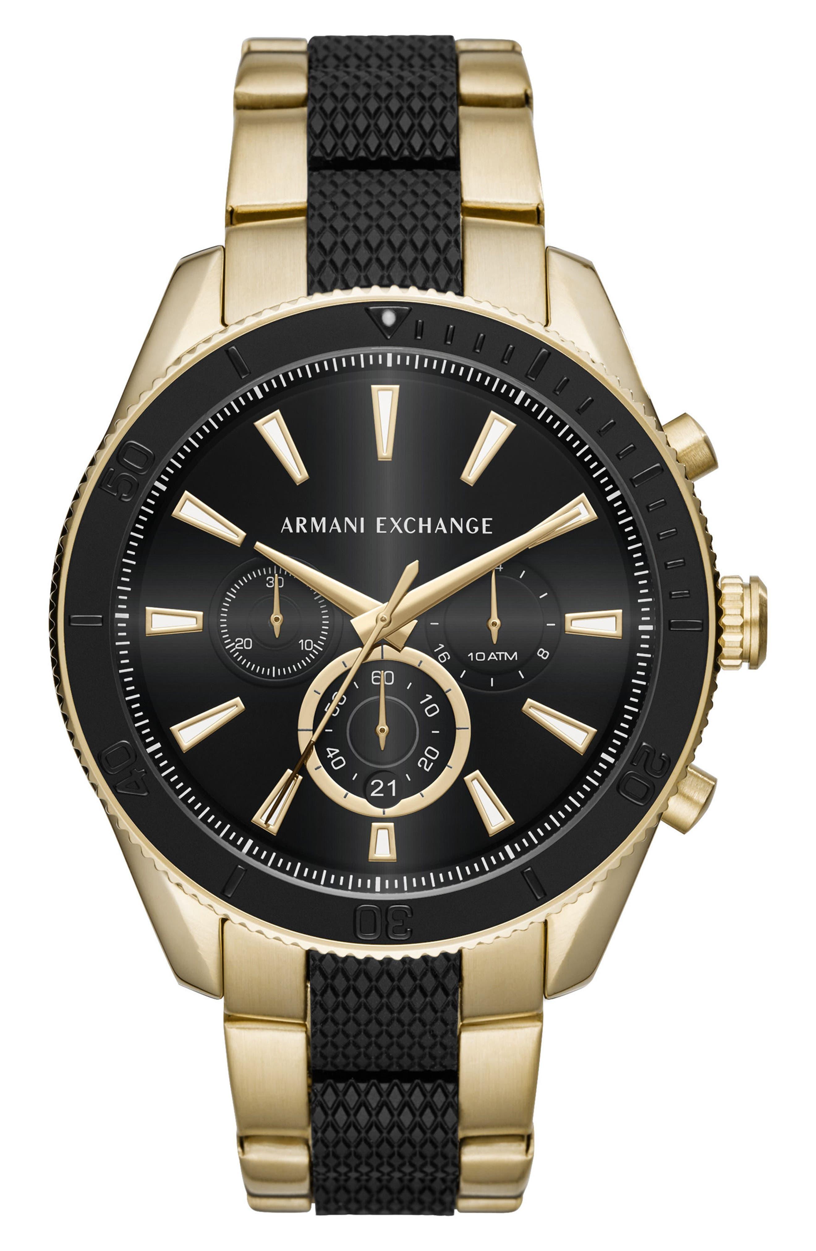 AX ARMANI EXCHANGE, Chronograph Bracelet Watch, 46mm, Main thumbnail 1, color, BLACK/GOLD