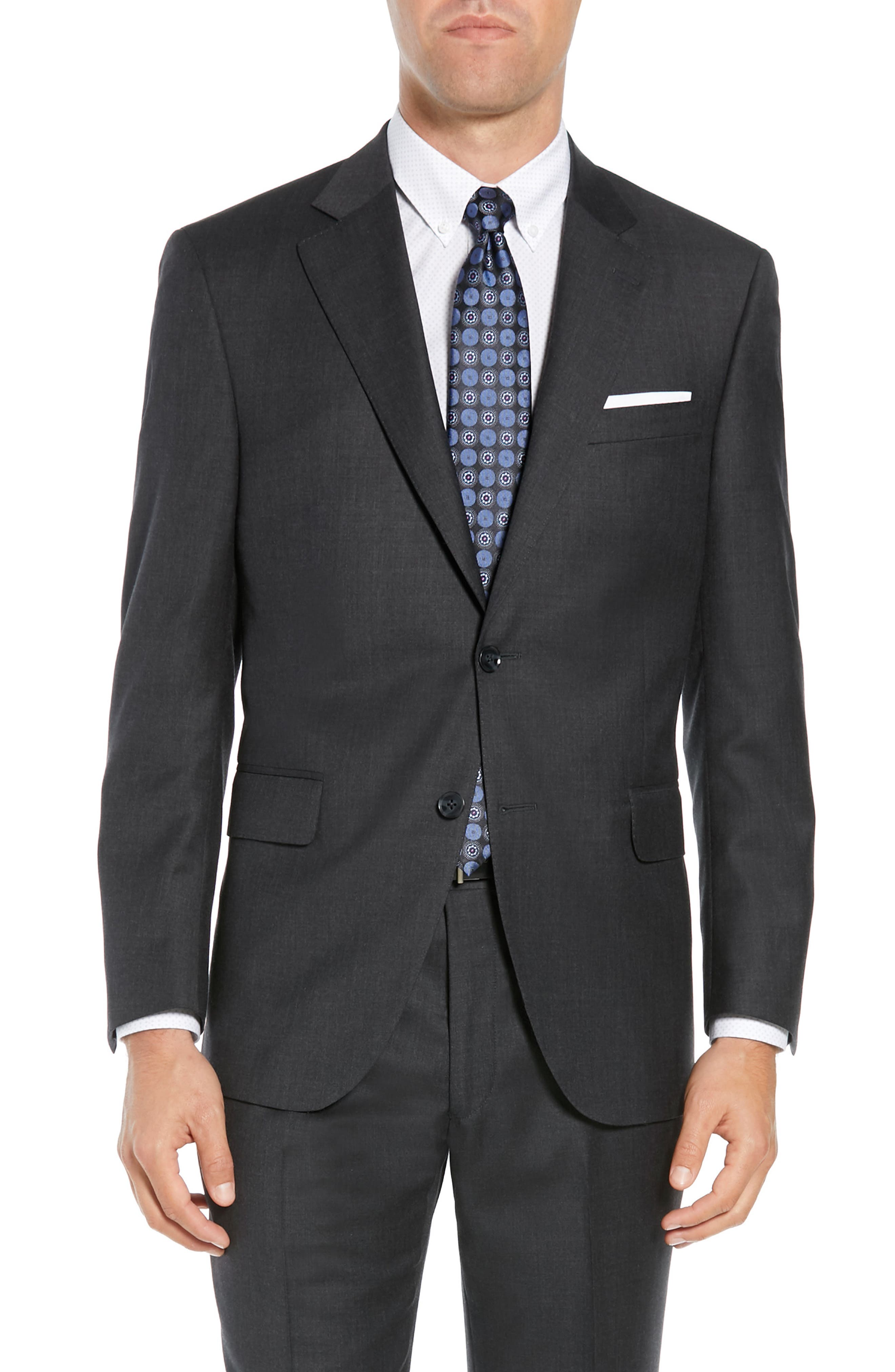 PETER MILLAR, Classic Fit Wool Suit, Alternate thumbnail 5, color, CHARCOAL