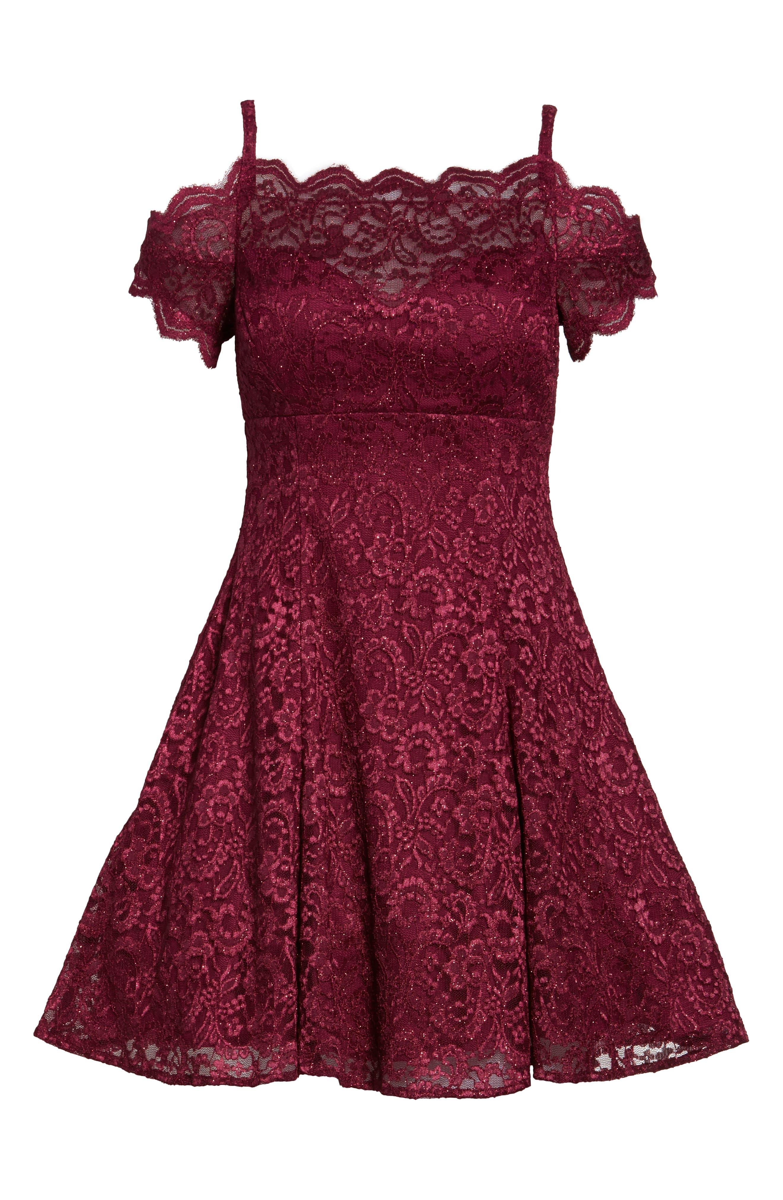 MORGAN & CO., Cold Shoulder Glitter Lace Fit & Flare Dress, Alternate thumbnail 7, color, MERLOT