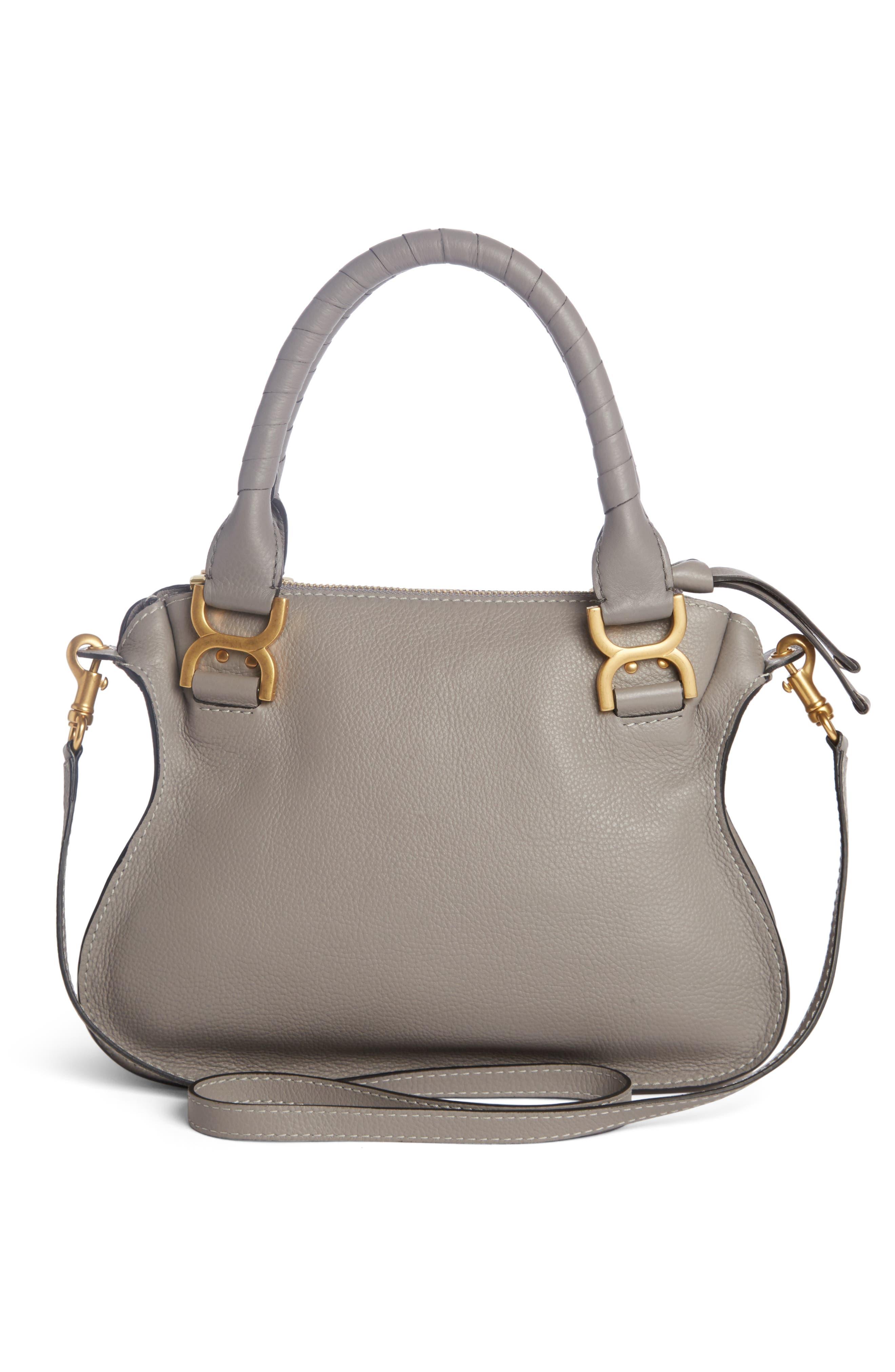 CHLOÉ, Marcie Small Double Carry Bag, Alternate thumbnail 3, color, CASHMERE GREY