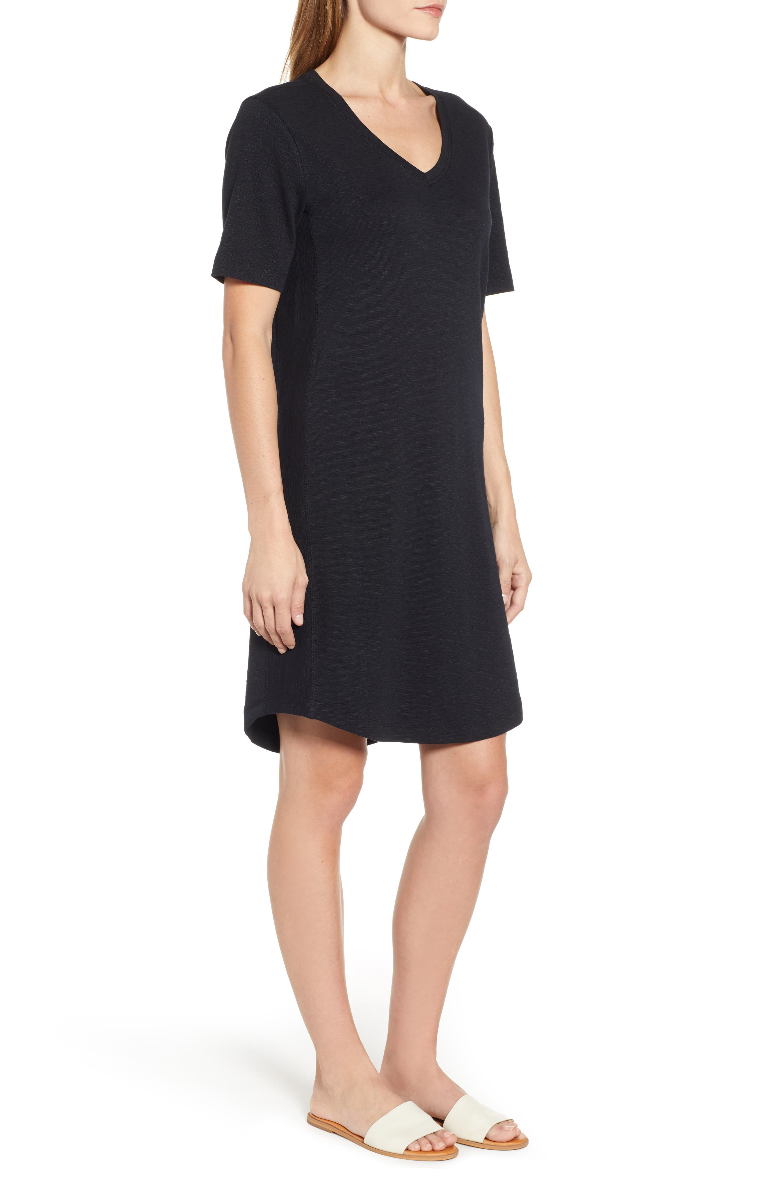 CASLON<SUP>®</SUP>, Slub Knit Dress, Alternate thumbnail 4, color, BLACK