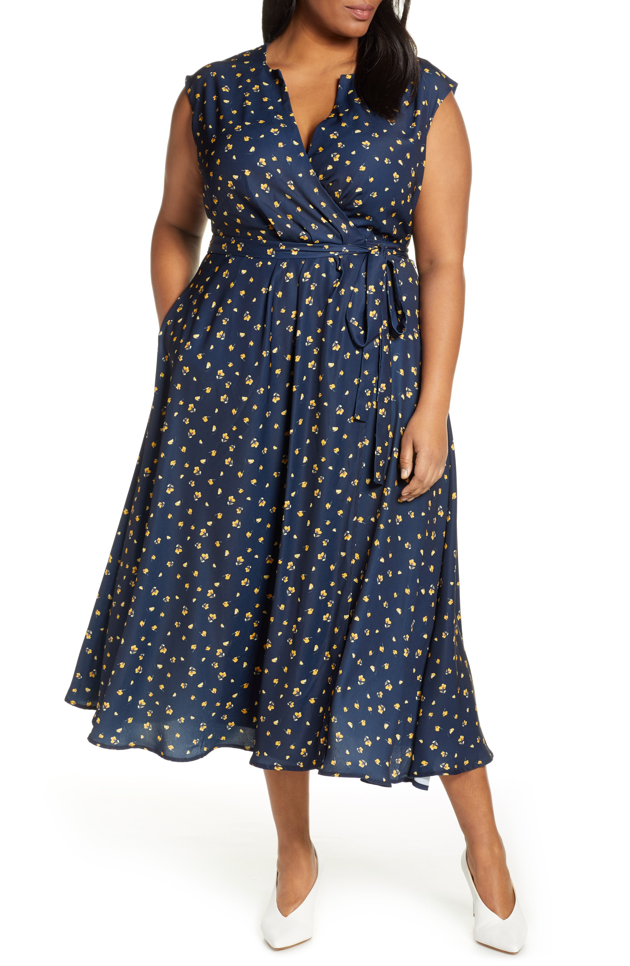 Plus Size Vintage Dresses, Plus Size Retro Dresses Plus Size Womens Jason Wu X Eloquii Surplice Midi Wrap Dress $99.95 AT vintagedancer.com