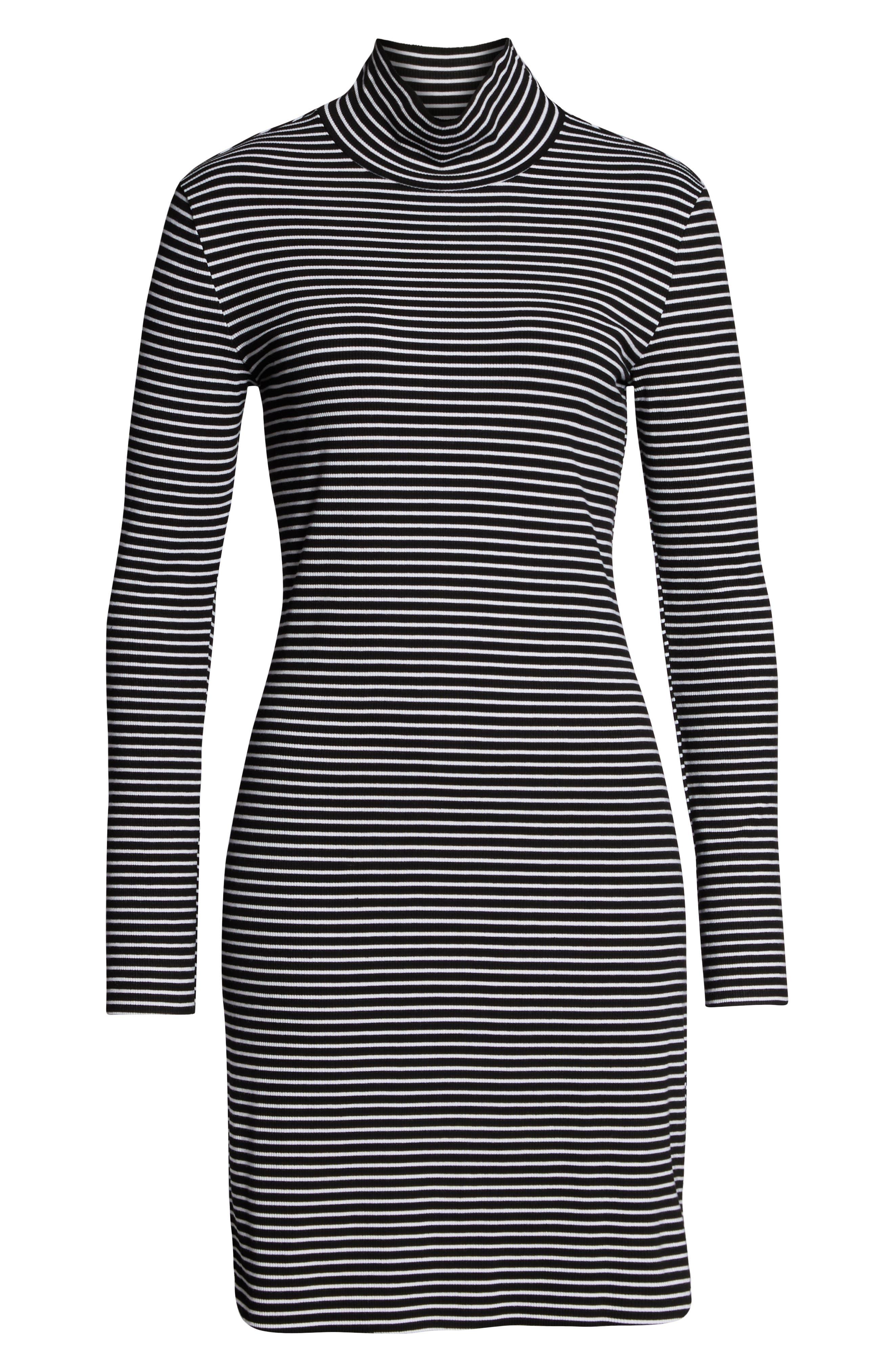 SANCTUARY, Essentials Stripe Mock Neck Dress, Alternate thumbnail 5, color, CLASSIC STRIPE BLACK