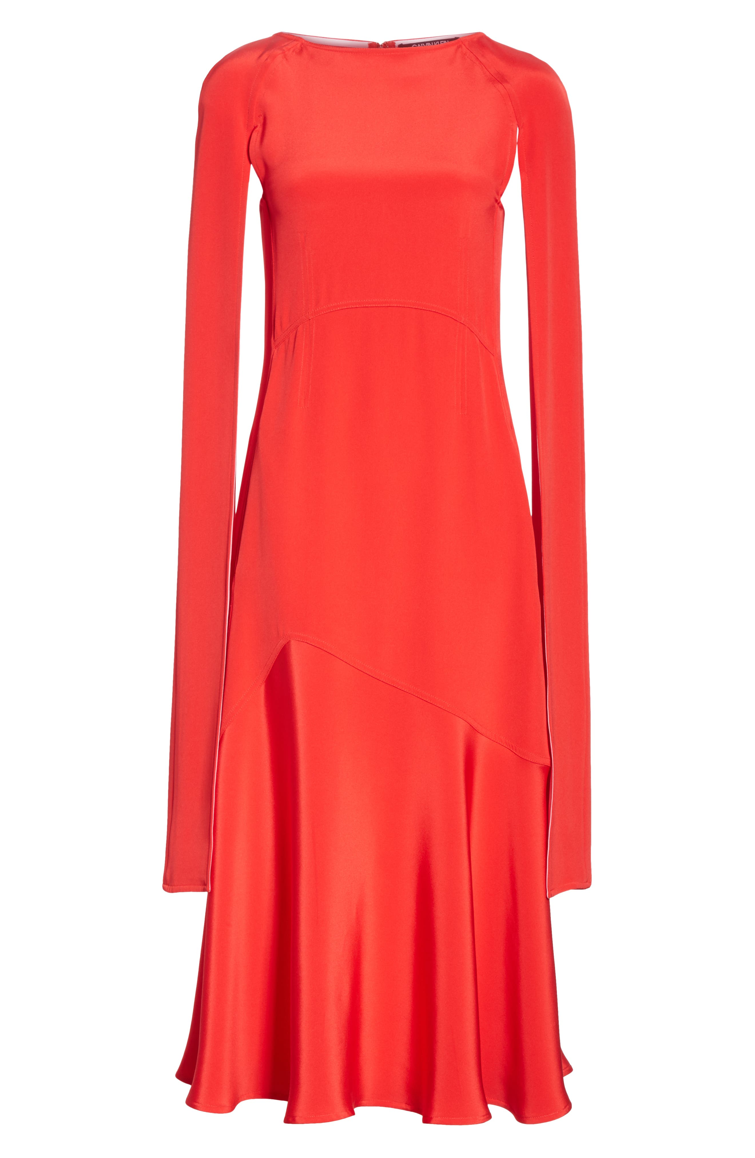 CALVIN KLEIN 205W39NYC, Cape Sleeve Silk Cady Midi Dress, Alternate thumbnail 7, color, RED CARNATION PINK