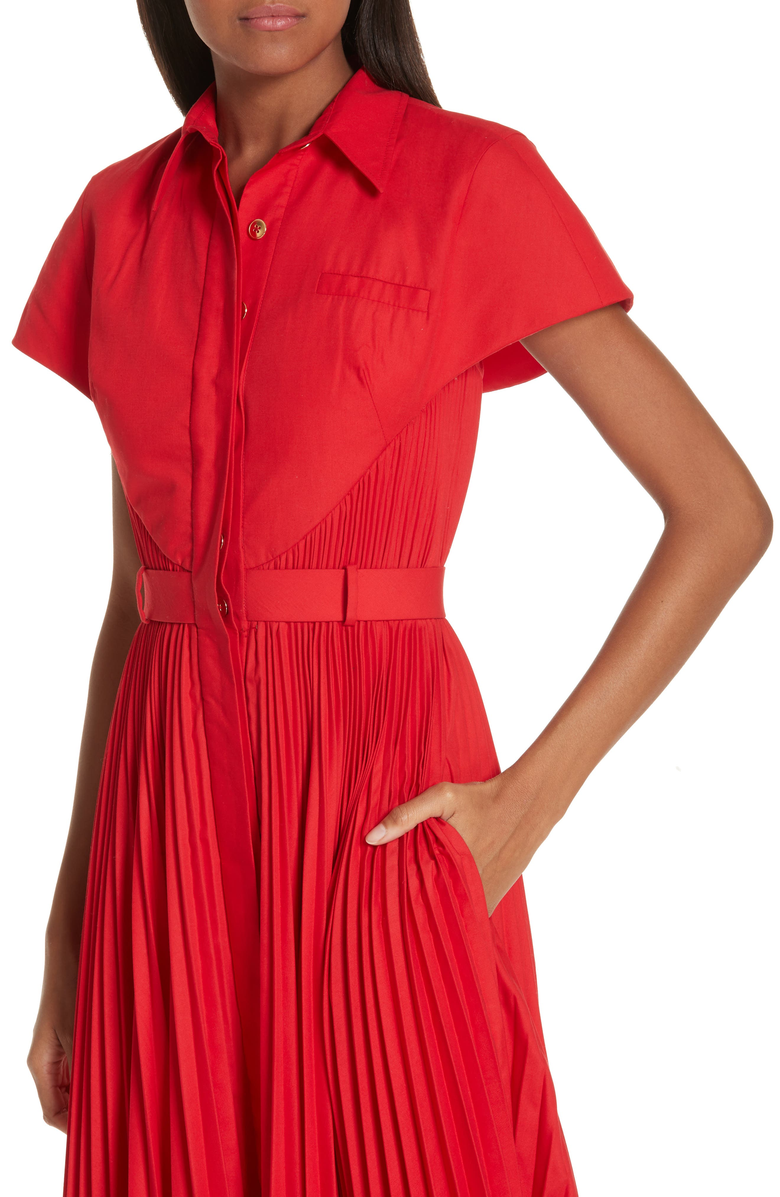 BRANDON MAXWELL, Button Front Pleated Shirtdress, Alternate thumbnail 5, color, RED