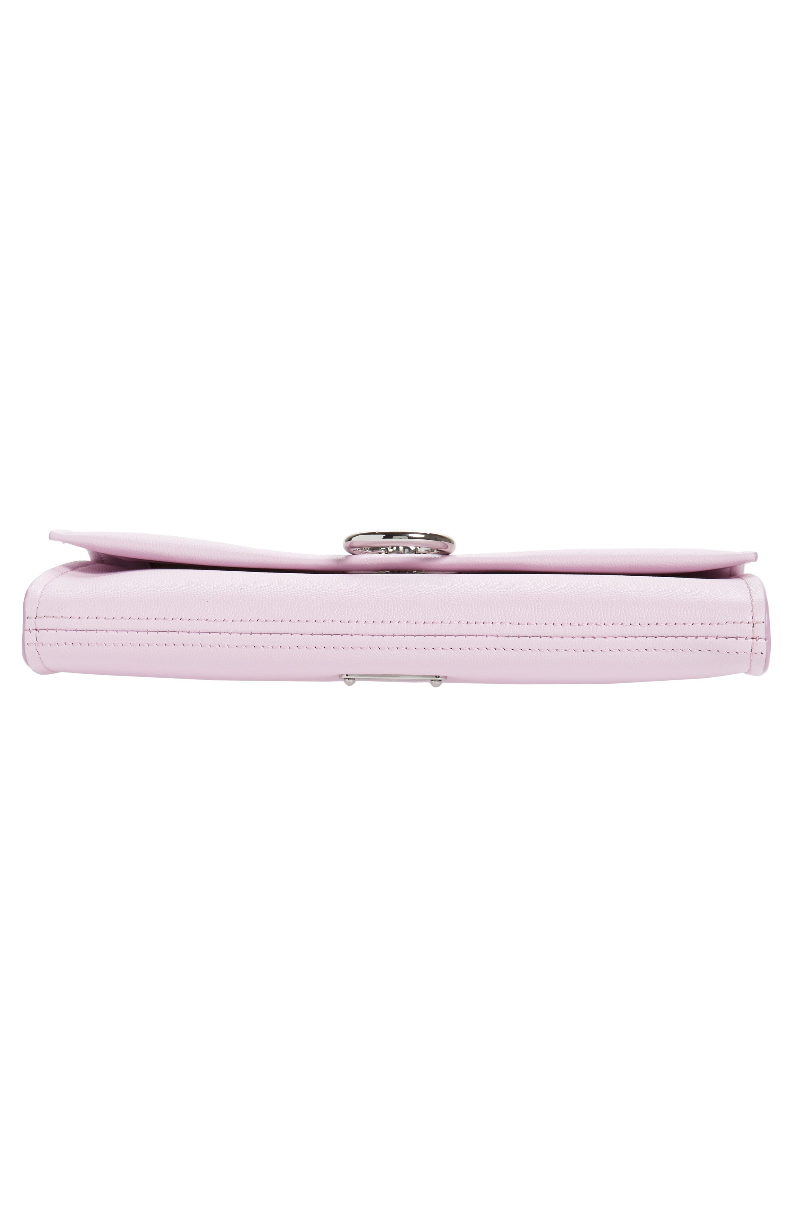 REBECCA MINKOFF, Jean Leather Clutch, Alternate thumbnail 7, color, LIGHT ORCHID