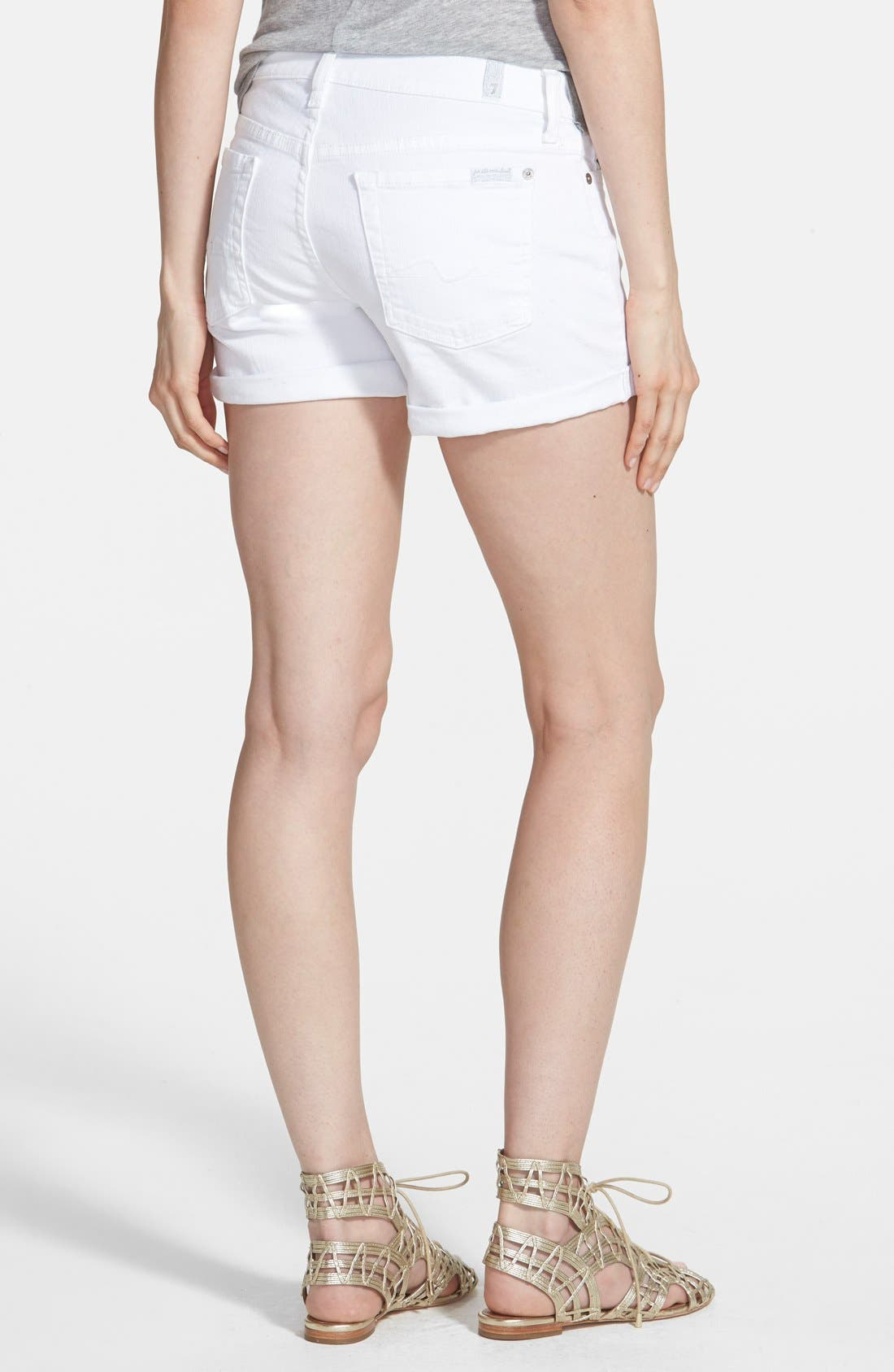 7 FOR ALL MANKIND<SUP>®</SUP>, Cuffed Denim Shorts, Alternate thumbnail 2, color, CLEAN WHITE