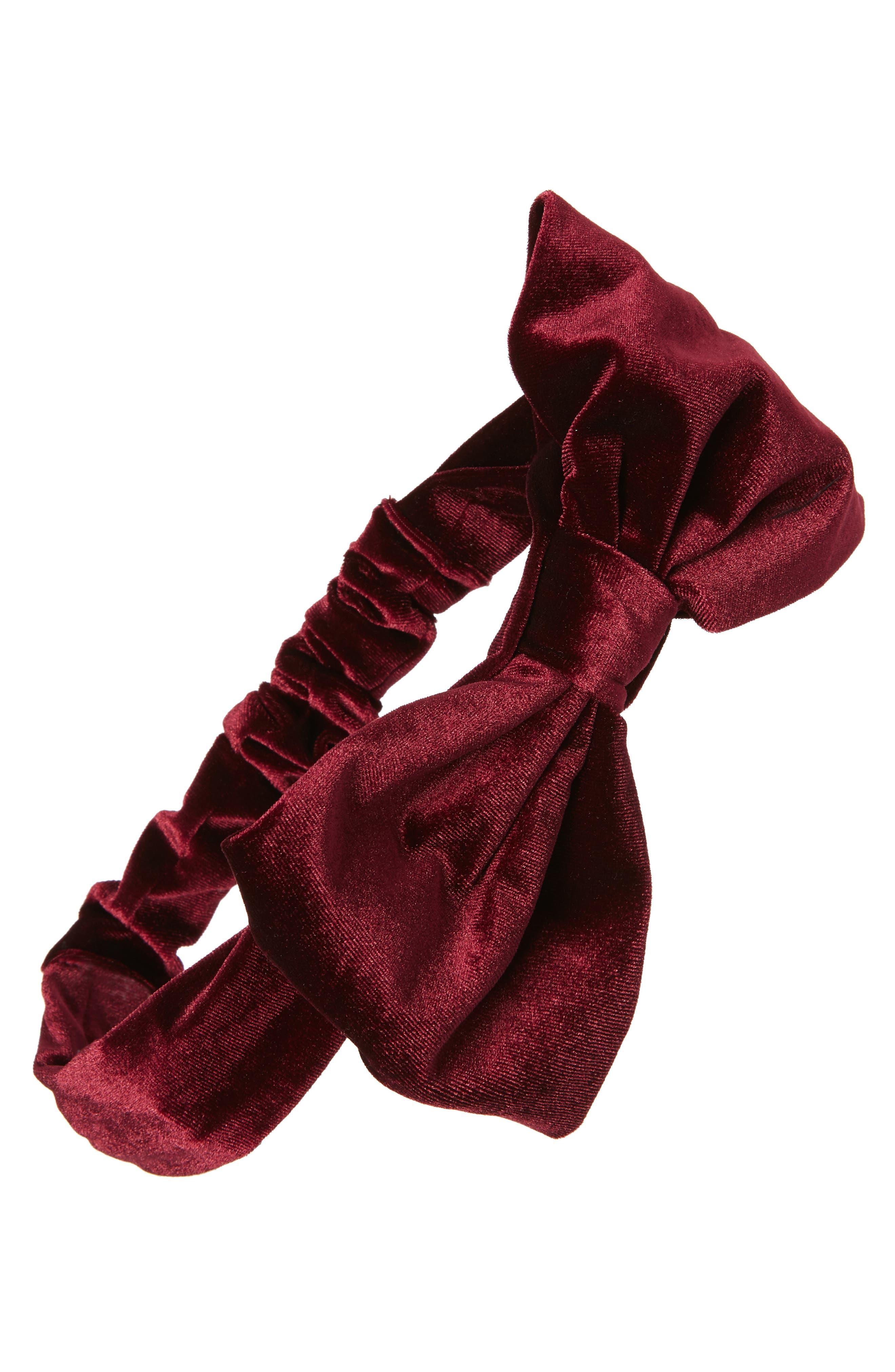 SOLE SOCIETY Velvet Bow Headband, Main, color, OXBLOOD